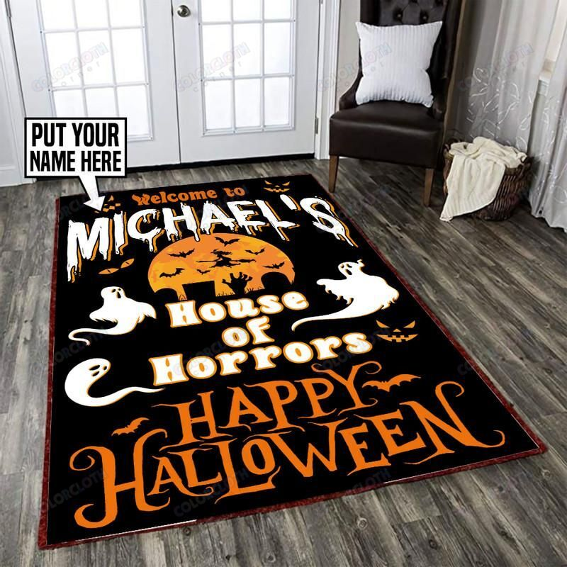 Personalized Happy Halloween House Of Horrors Rug
