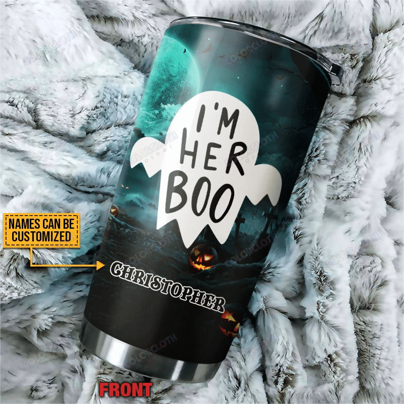 I'm Her Boo I'm His Witch Halloween Custom Tumbler Cup