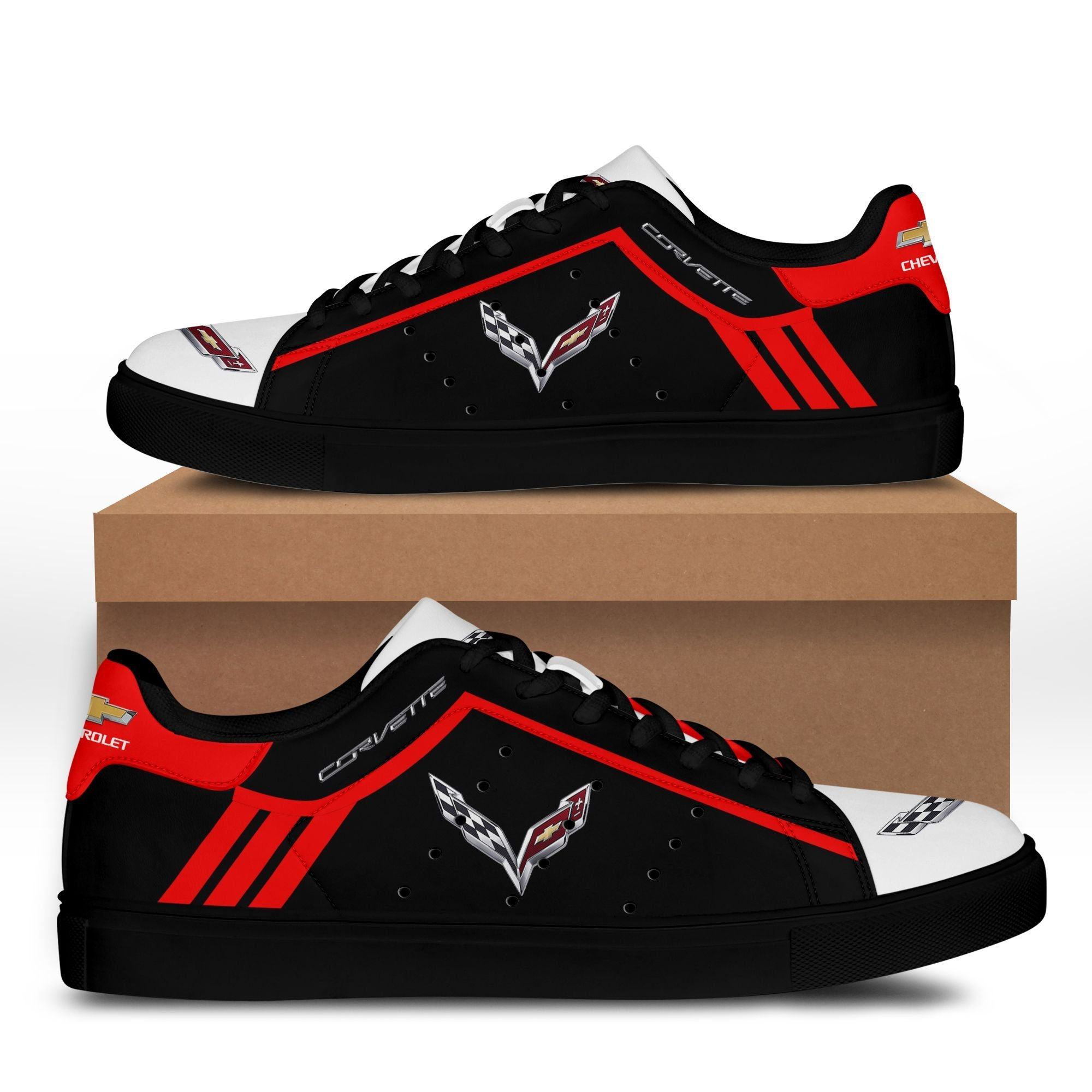 Chevrolet Corvette Red lines in Black Stan Smith Shoes