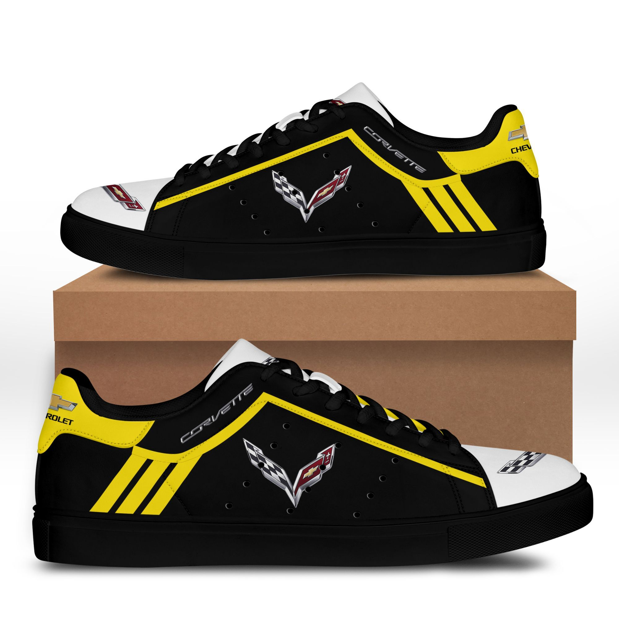 Chevrolet Corvette Yellow lines in Black Stan Smith Shoes