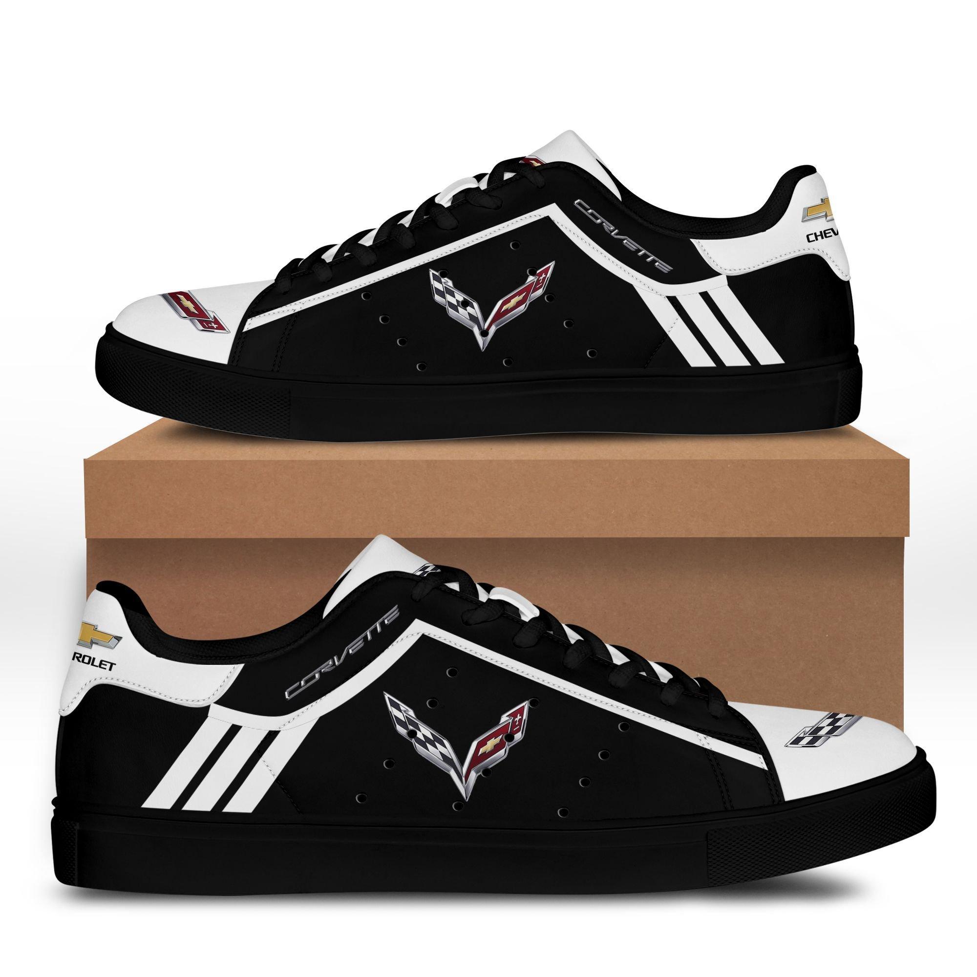 Chevrolet Corvette White lines in Black Stan Smith Shoes