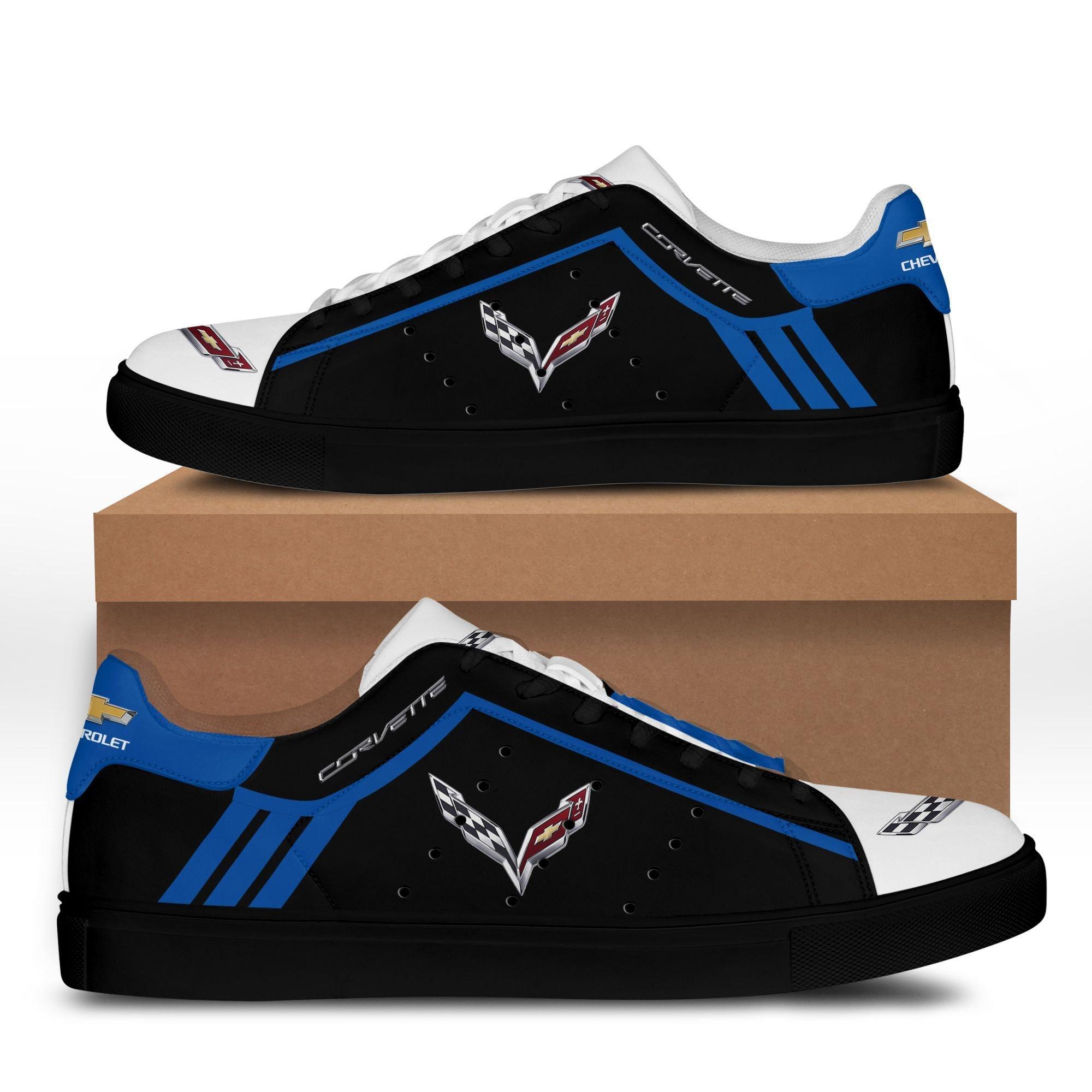 Chevrolet Corvette Blue lines in Black Stan Smith Shoes