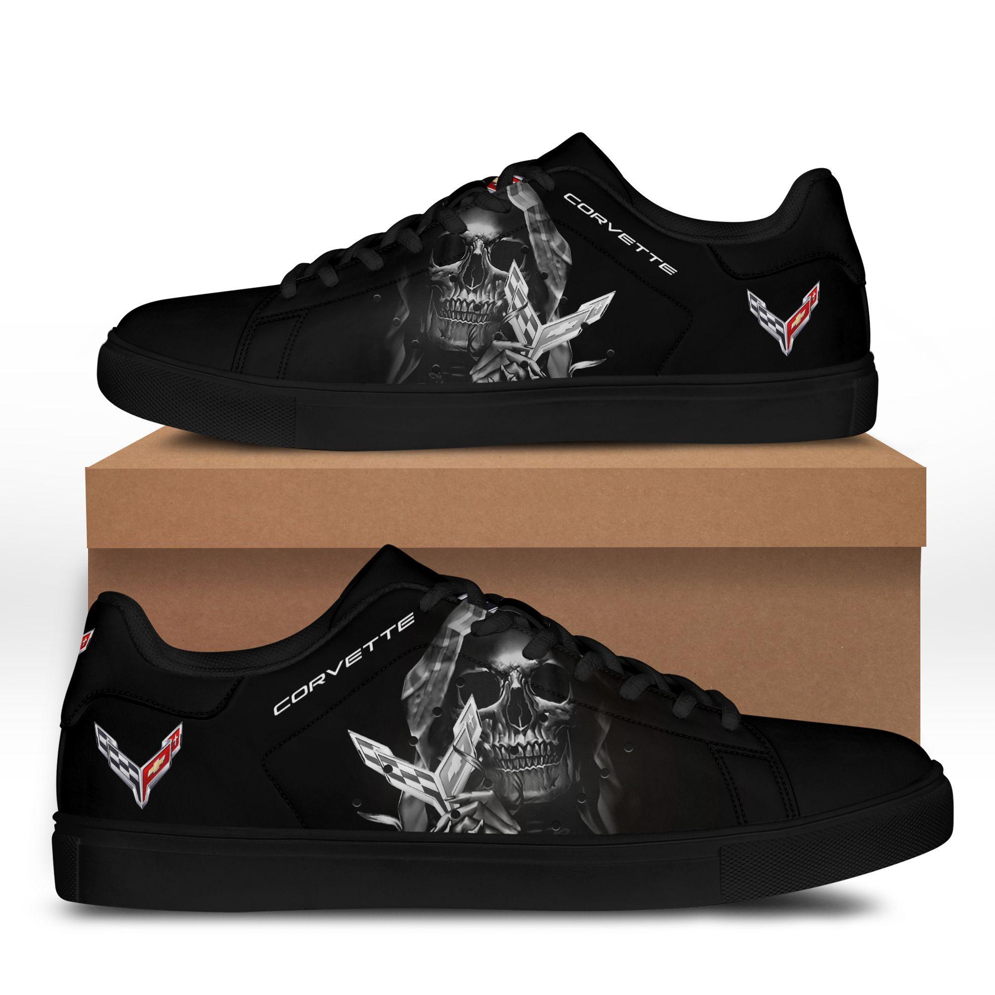 Corvette Grey skull in Black Stan Smith Shoes