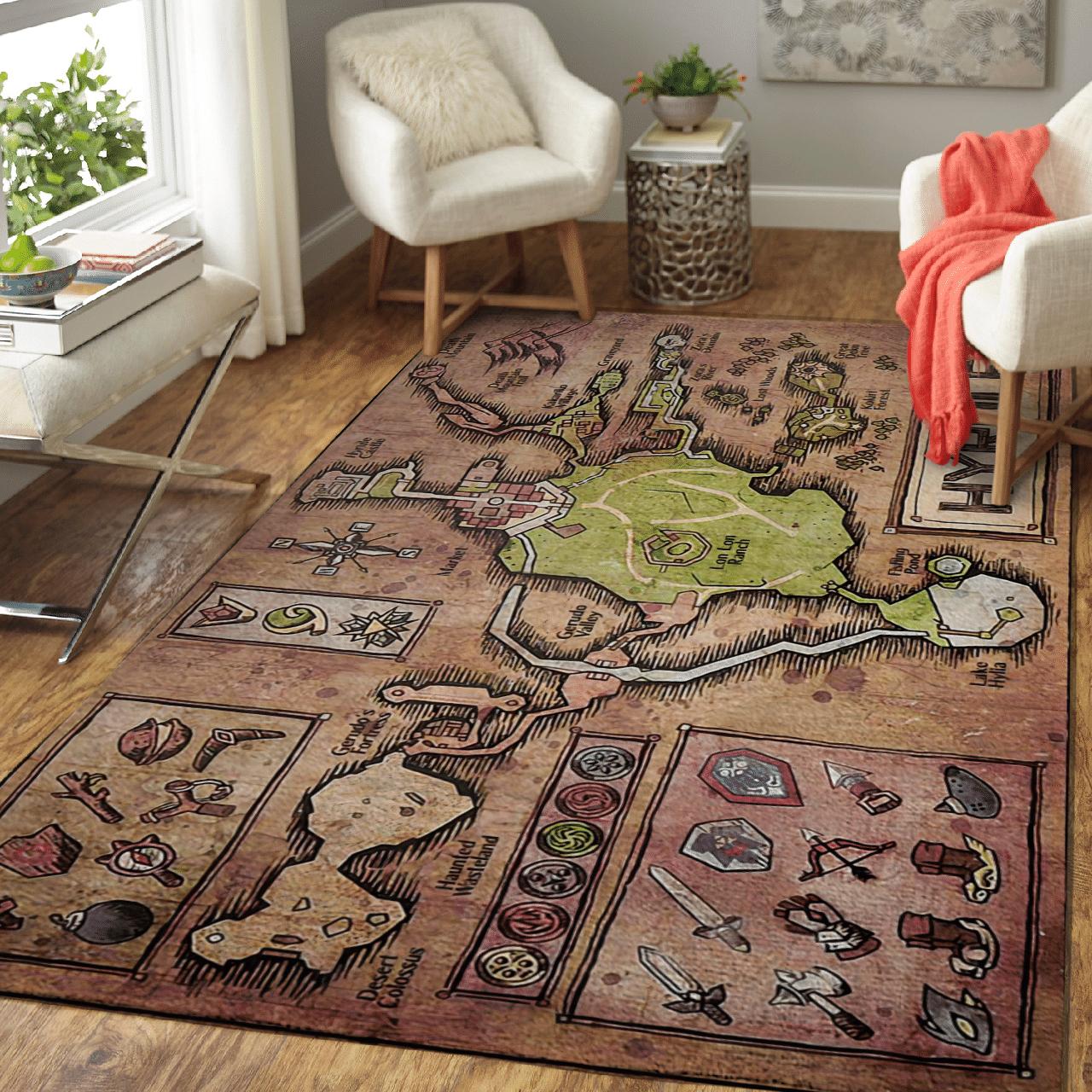 Legend of Zelda Hyrule Map Carpet Rug