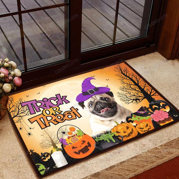Pug Halloween Trick Or Treat Door Mat