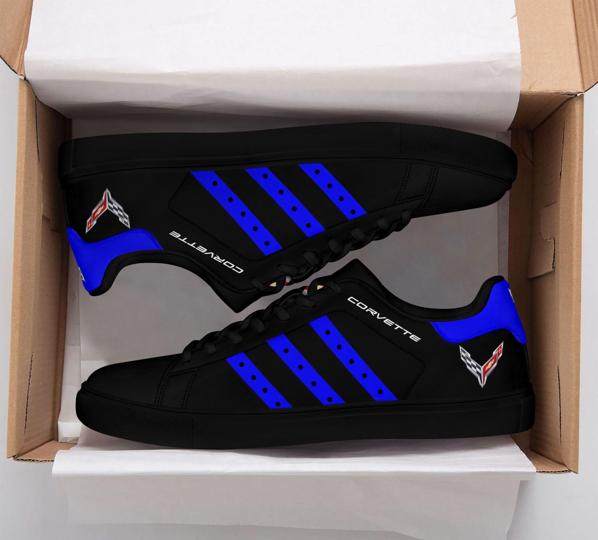 Chevrolet Corvette Blue Stripe Line in Black Stan Smith Shoes