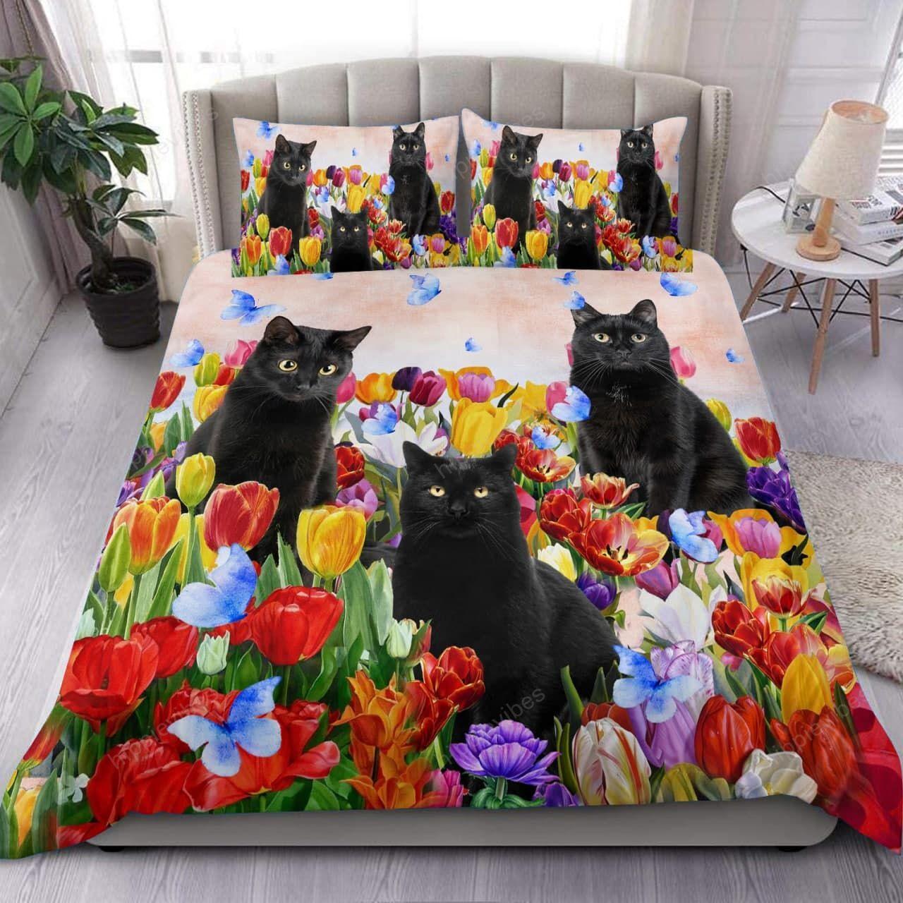 Black Cat Tulip Garden Bedding Set