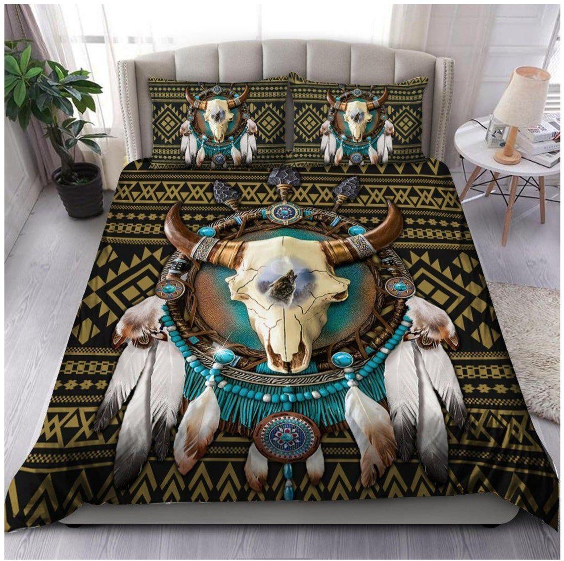 Native American Bison Skeleton Dreamcatcher Bedding Set
