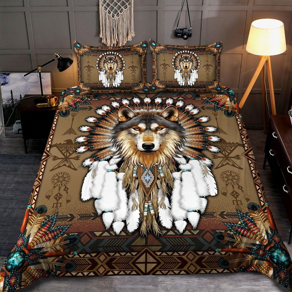 Native American Wolf Dreamcatcher Feathers Bedding Set