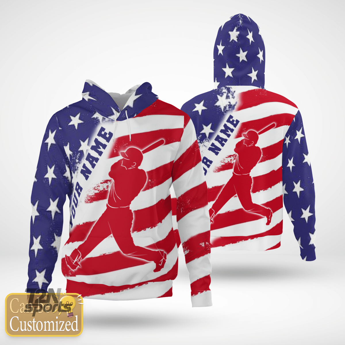 Baseball USA Fkag Custom 3D hoodie