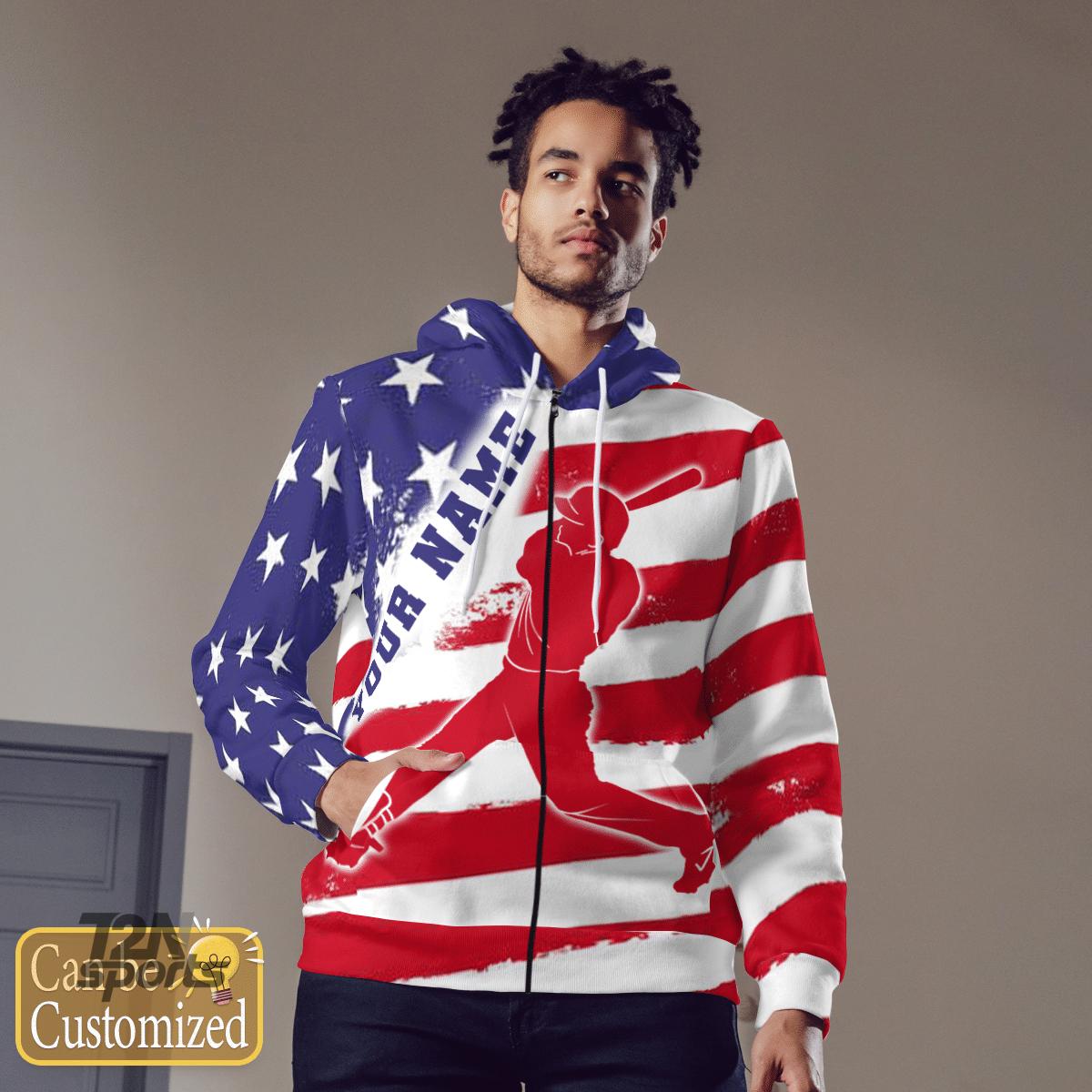 Baseball USA Flag Custom 3D hoodie