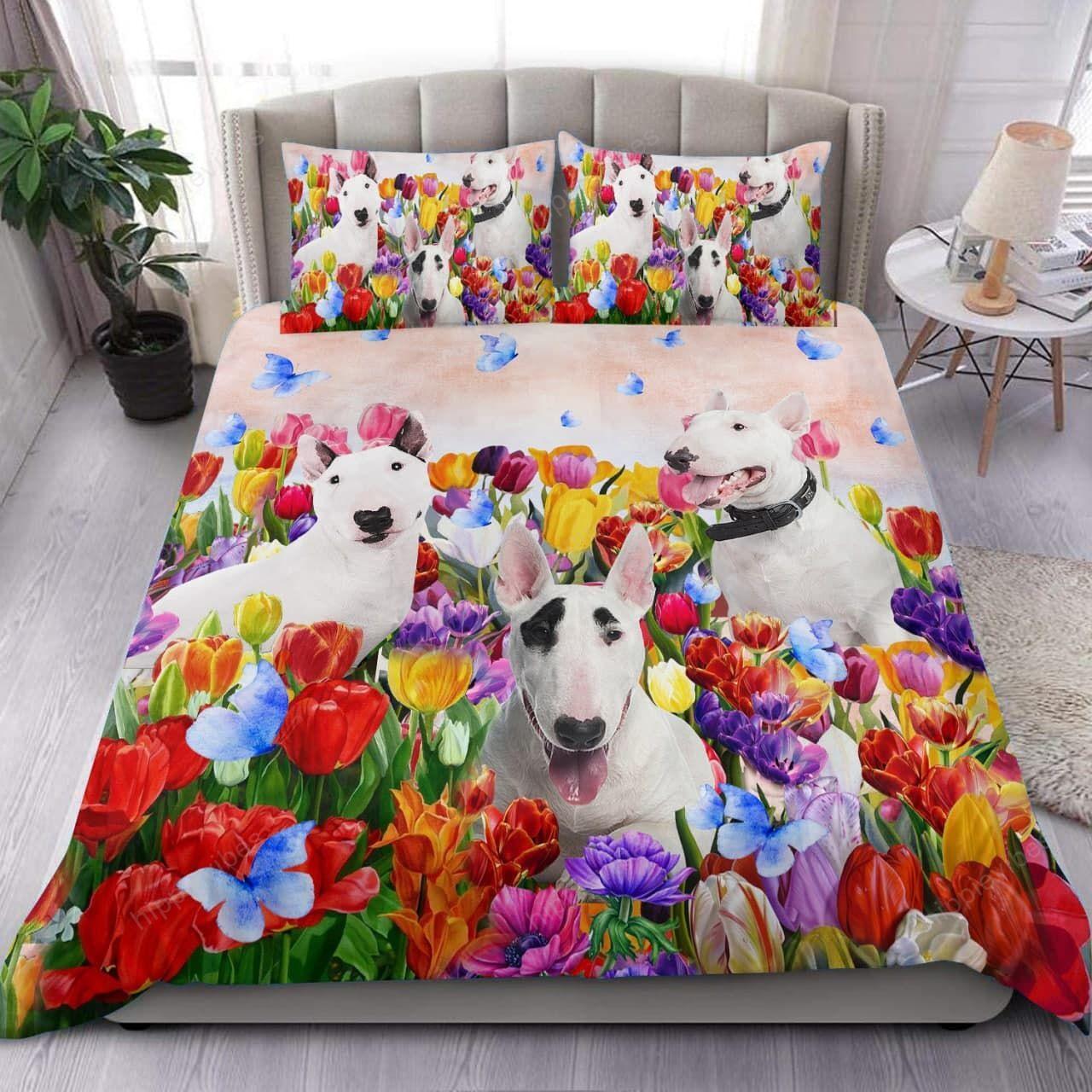 Bull Terrier Tulip Garden Bedding Set