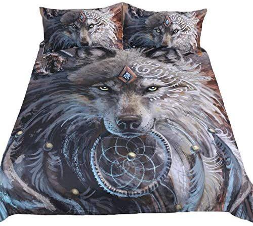 Native American Wolf hold dreamcatcher 3D Bedding Set