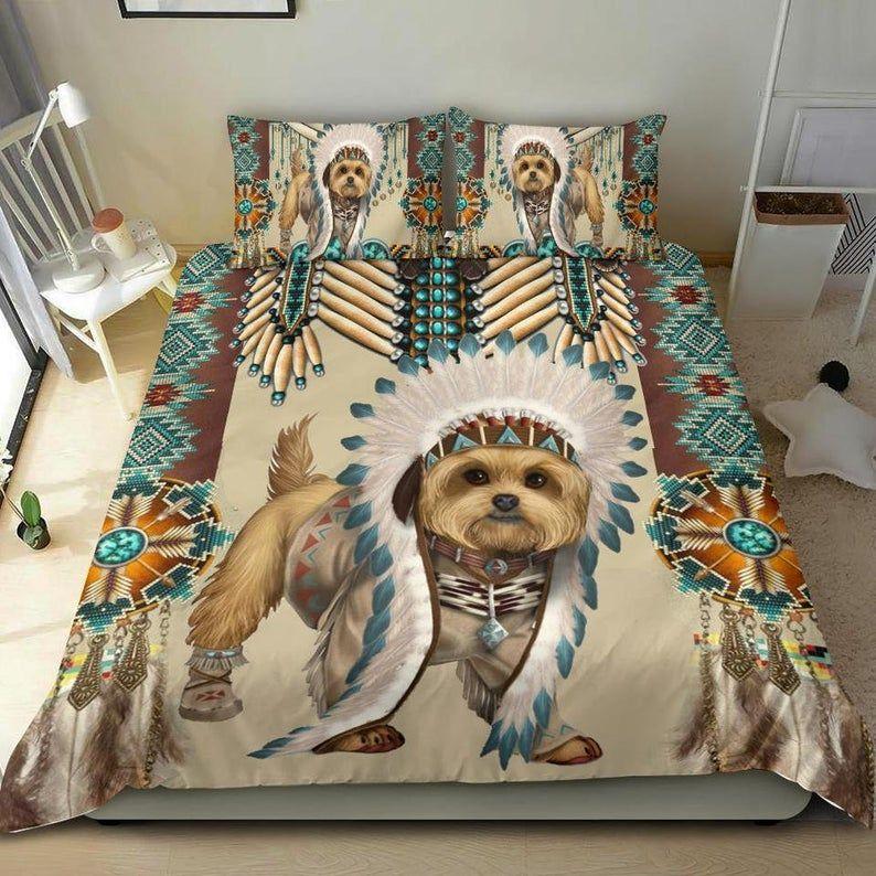 Native American Yorkshire Terrier Dog 3D Bedding Set