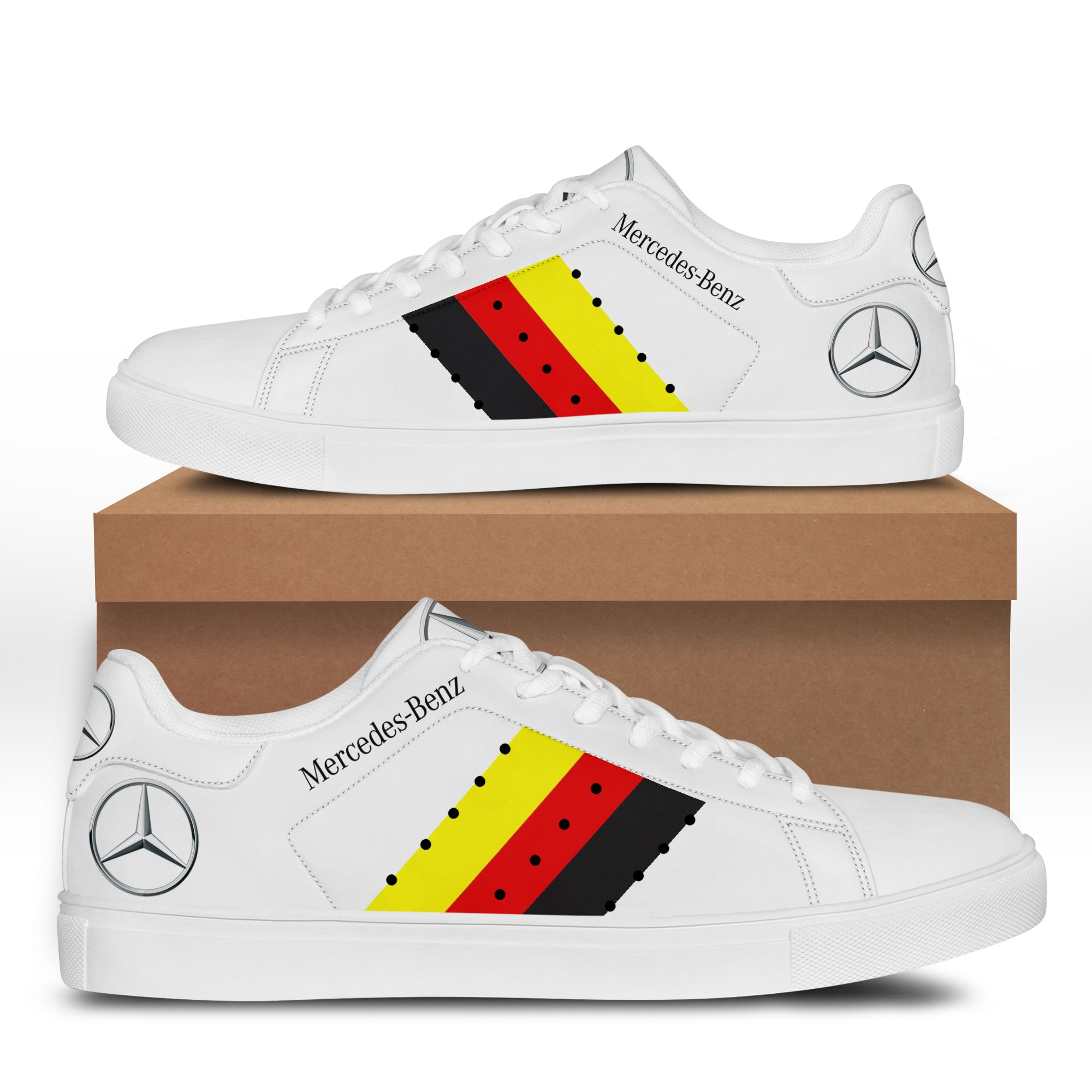 Mercedes Benz White Stan Smith Shoes
