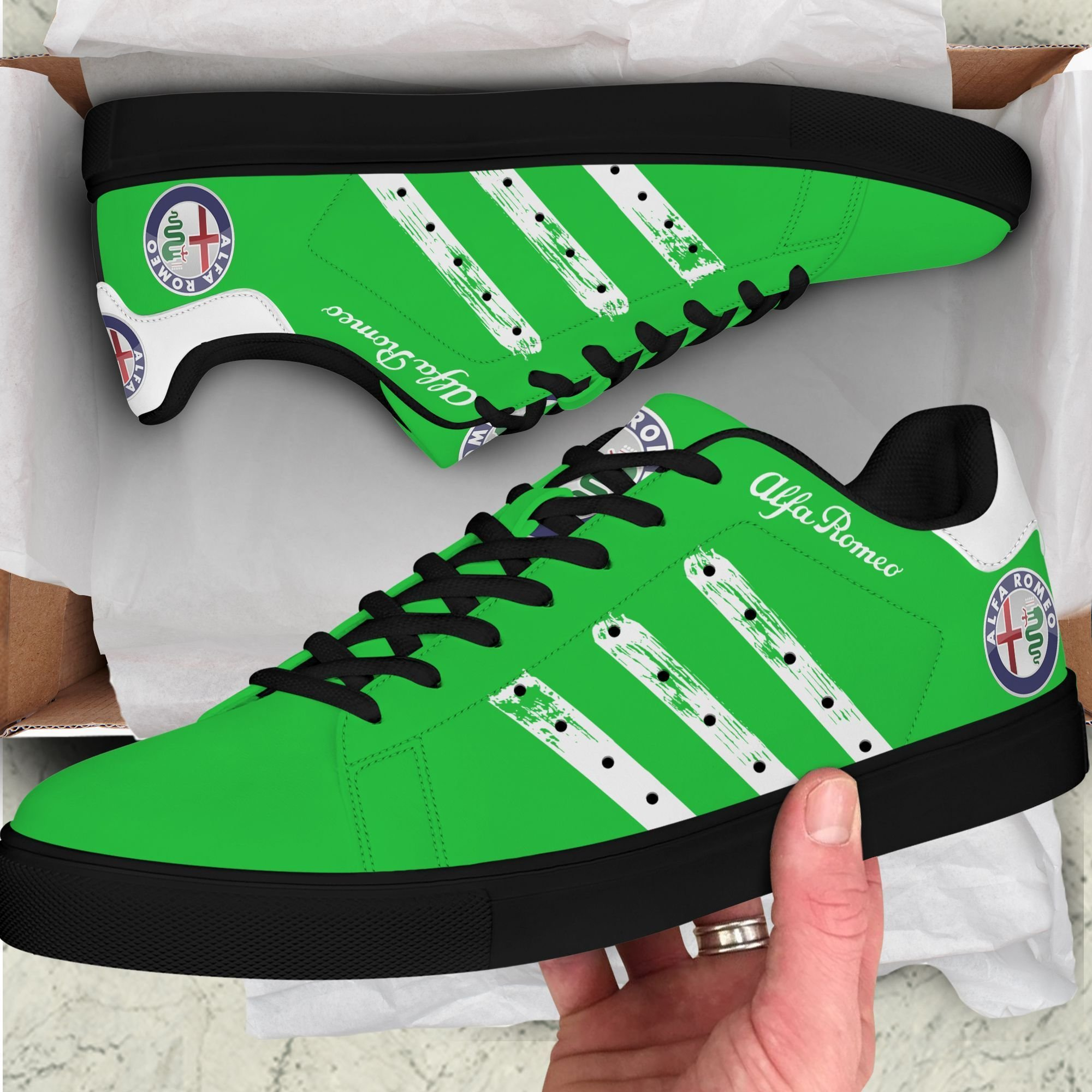 Alfa Romeo White painting lines Green Stan Smith Shoes