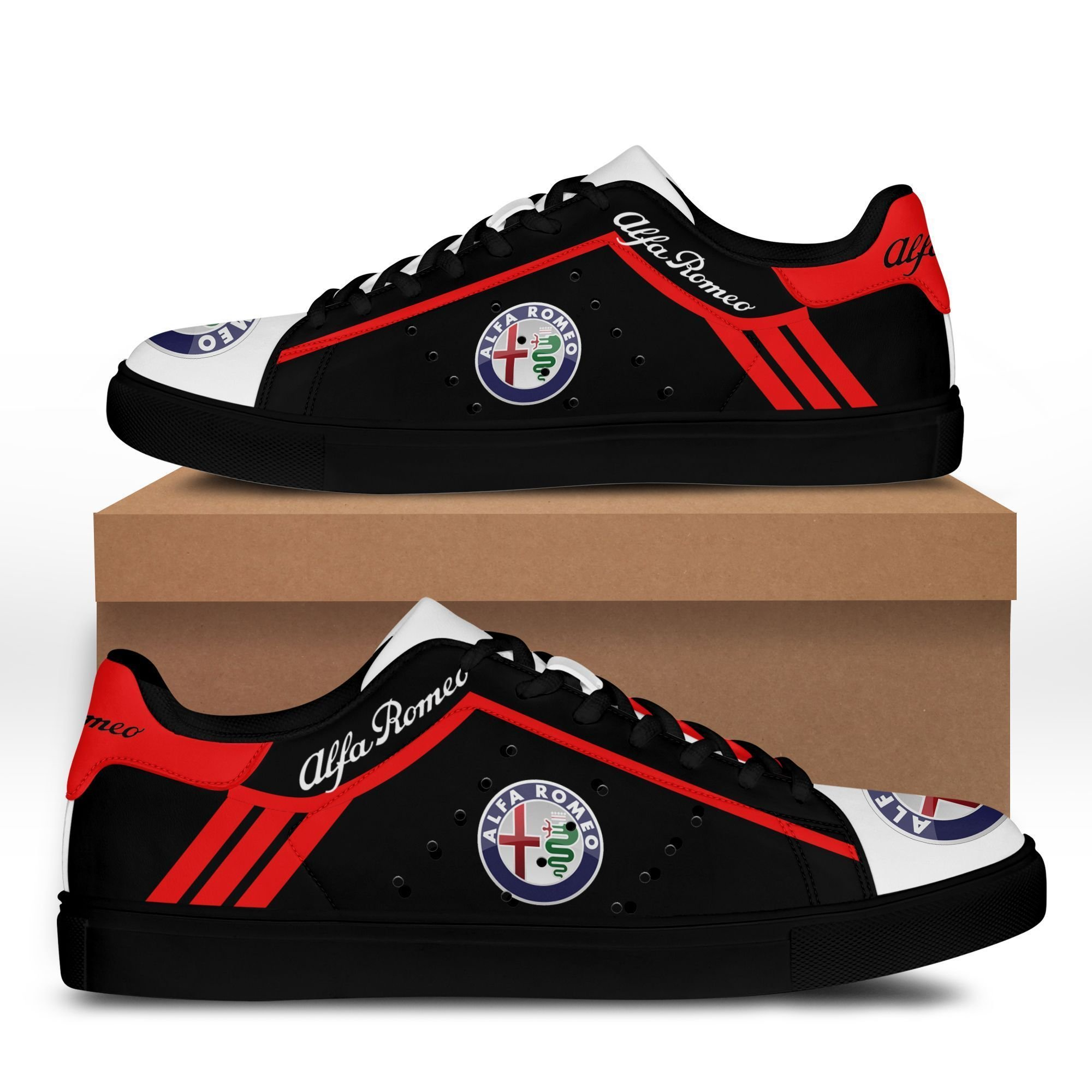Alfa Romeo Red lines in Black Stan Smith Shoes