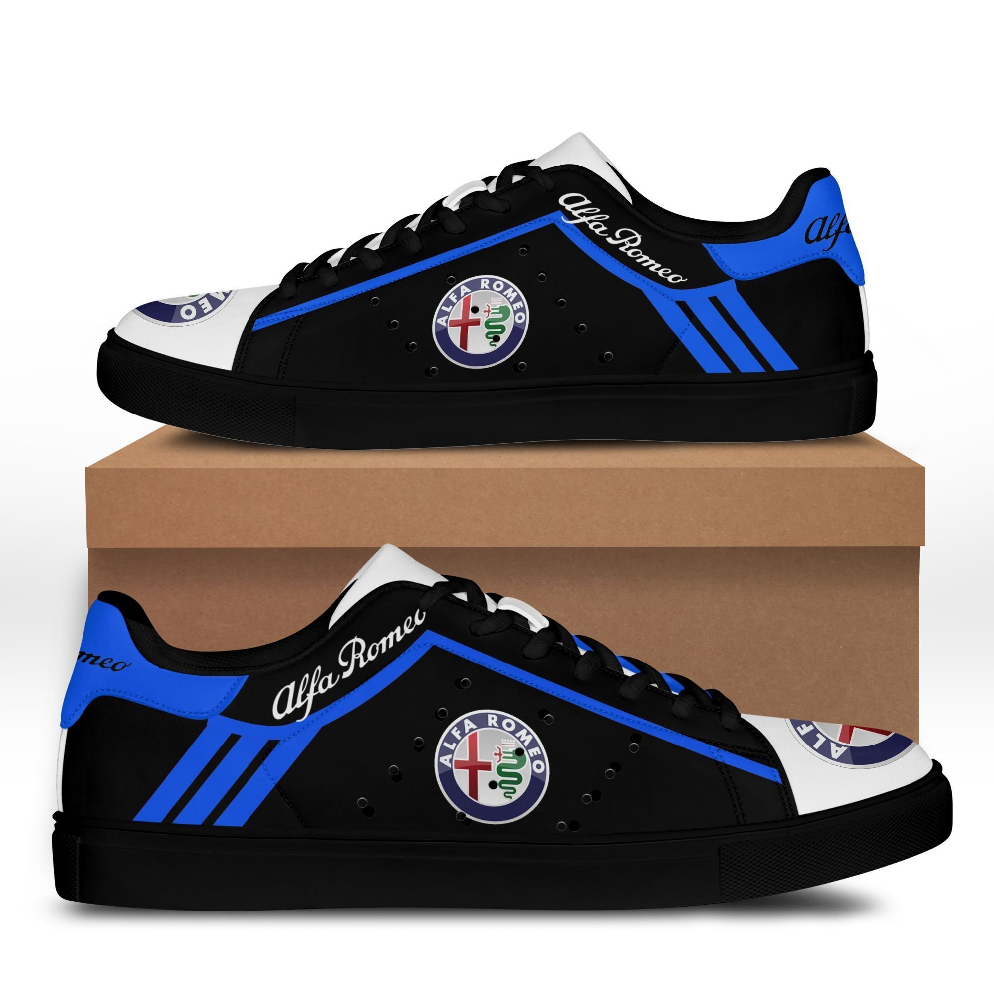 Alfa Romeo Blue lines in Black Stan Smith Shoes