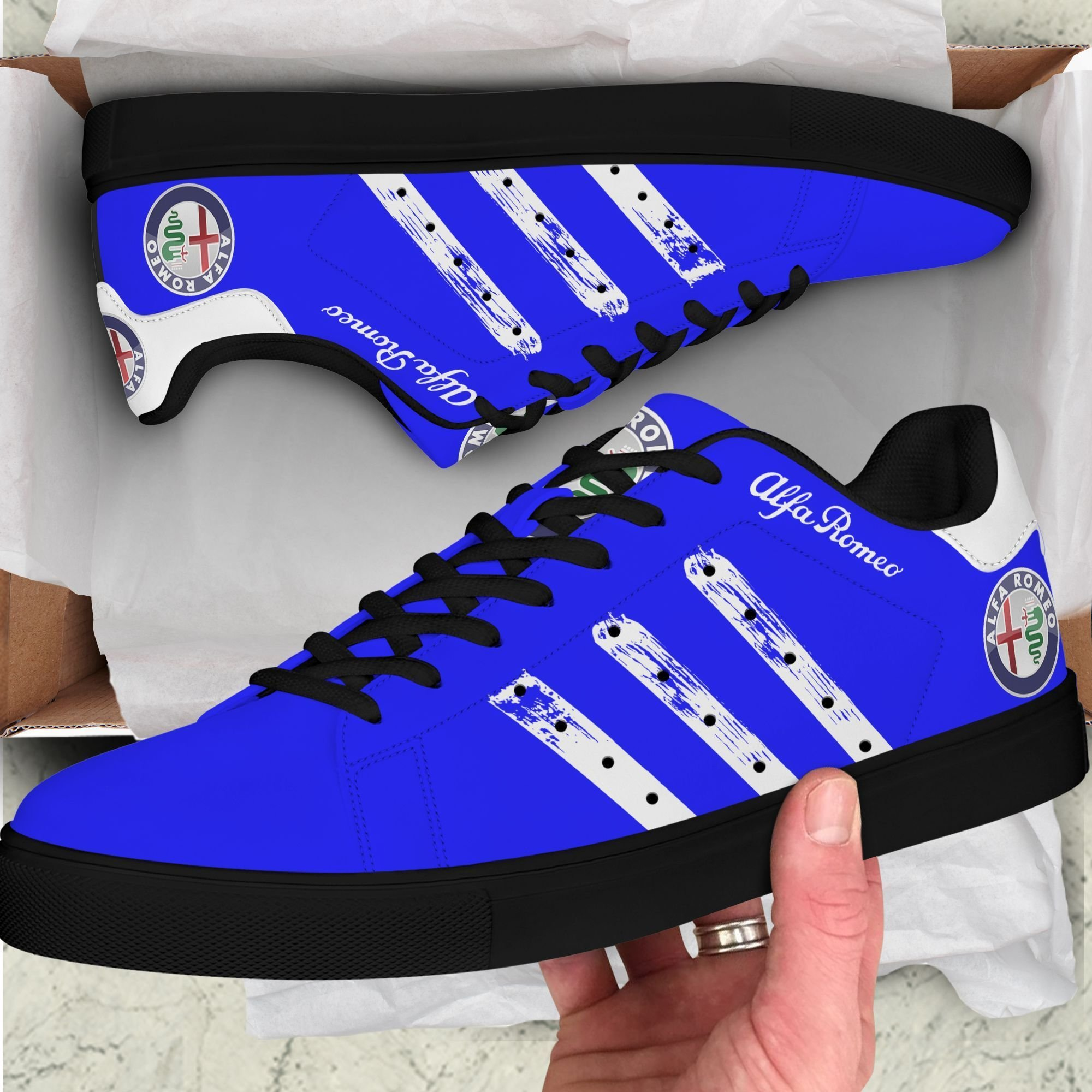 Alfa Romeo White painting lines Blue Stan Smith Shoes