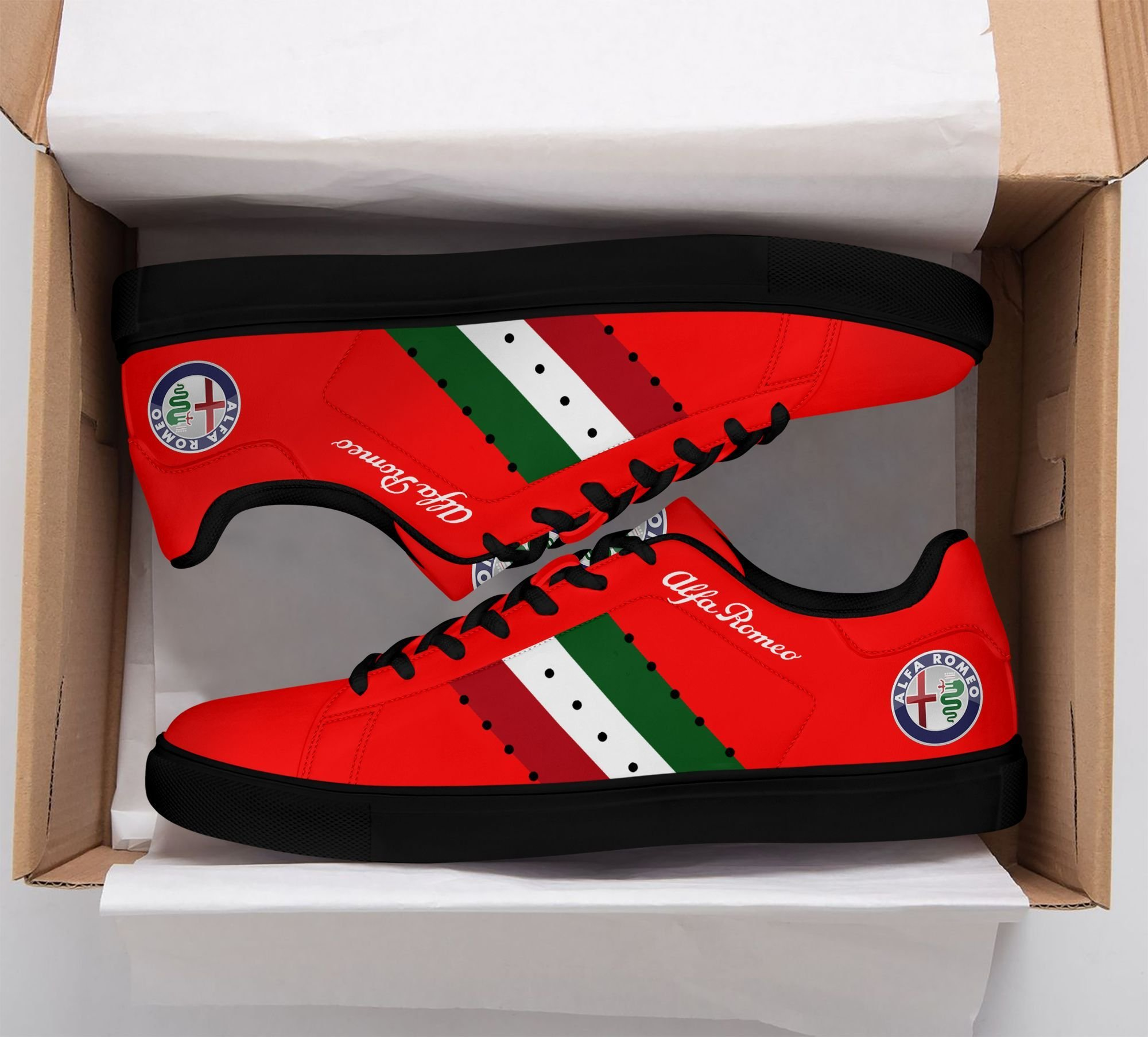 Alfa Romeo Color lines in Red Stan Smith Shoes