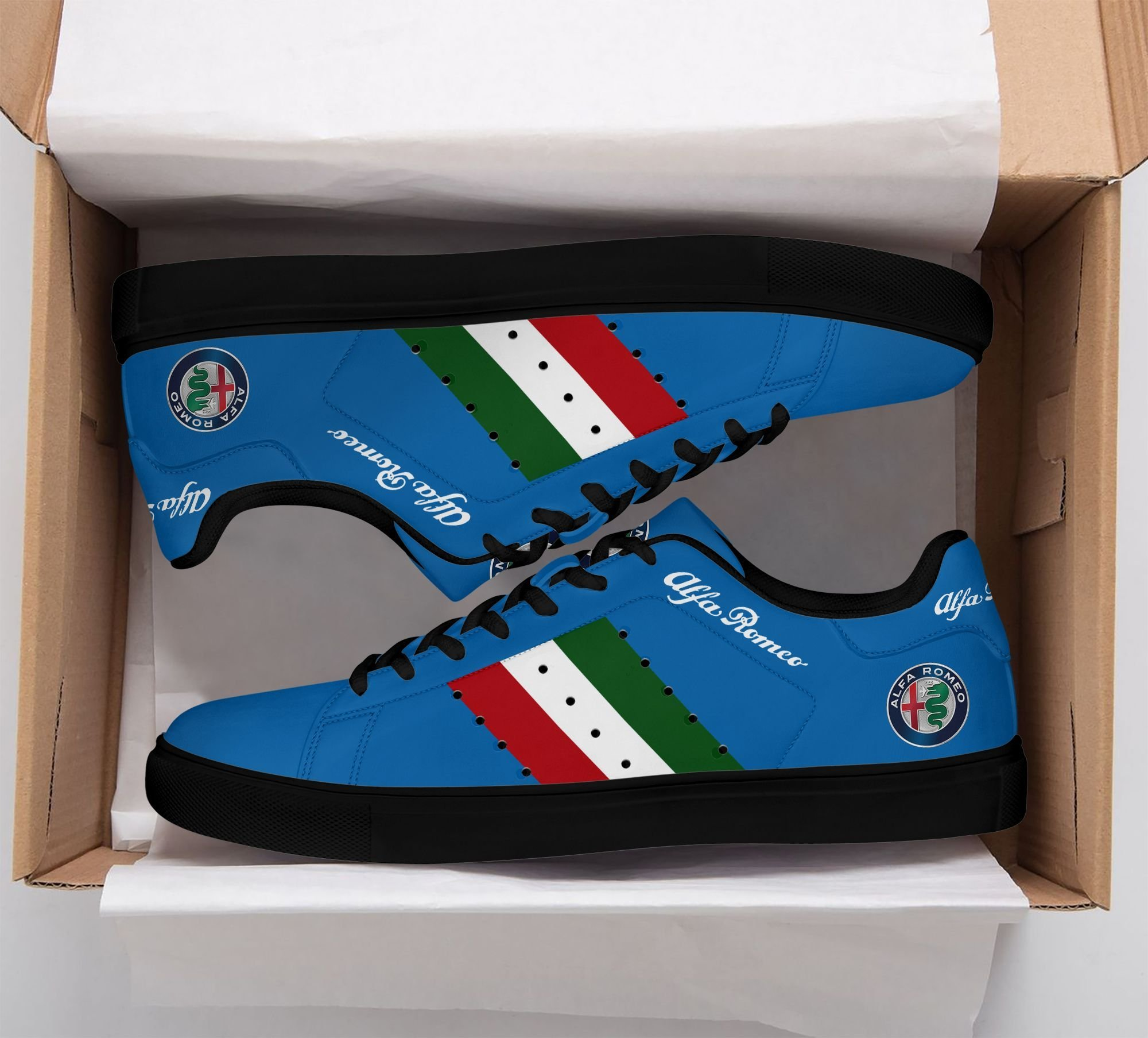 Alfa Romeo Color lines in Blue Stan Smith Shoes