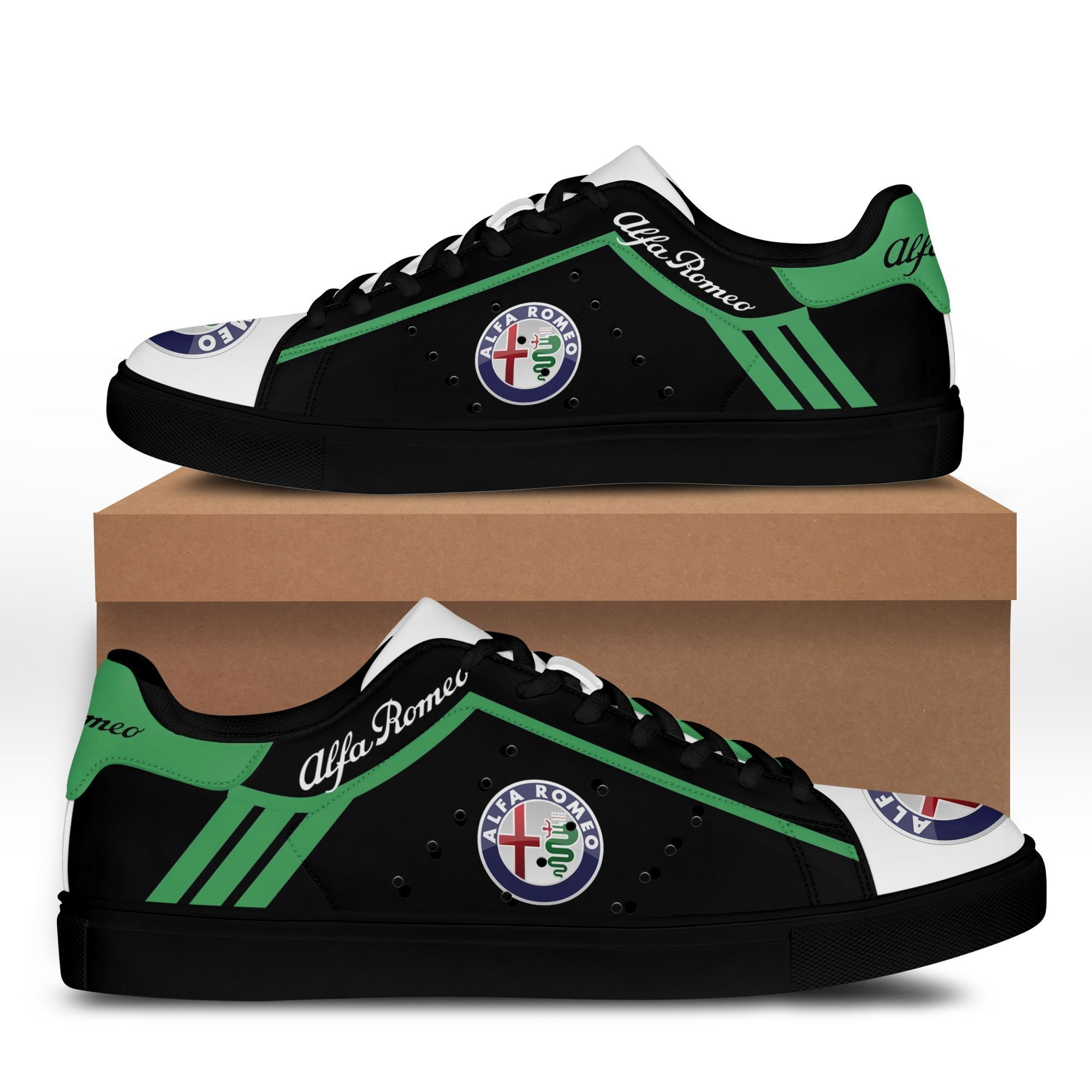 Alfa Romeo Green Lines in Black Stan Smith Shoes