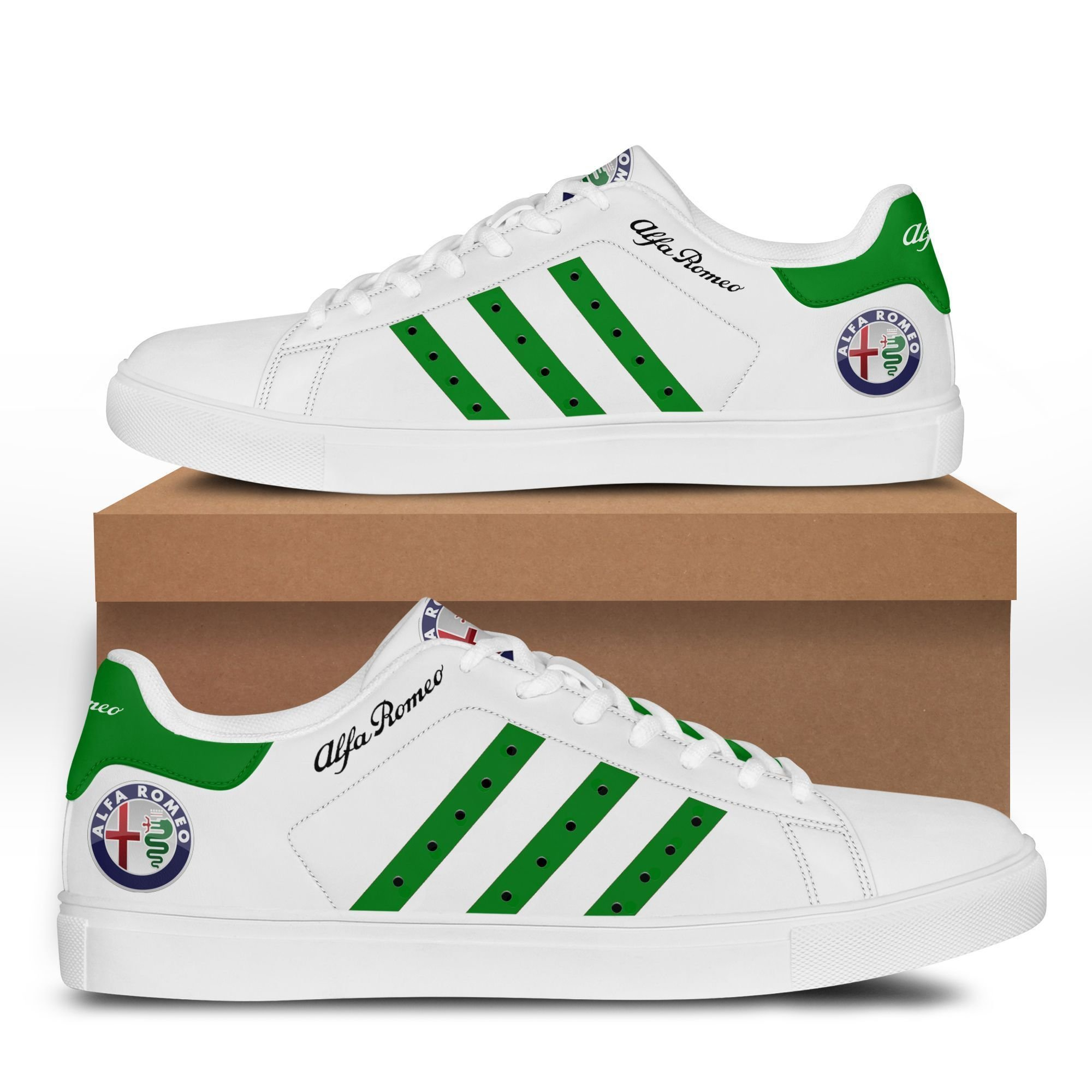 Alfa Romeo Green Lines in White Stan Smith Shoes