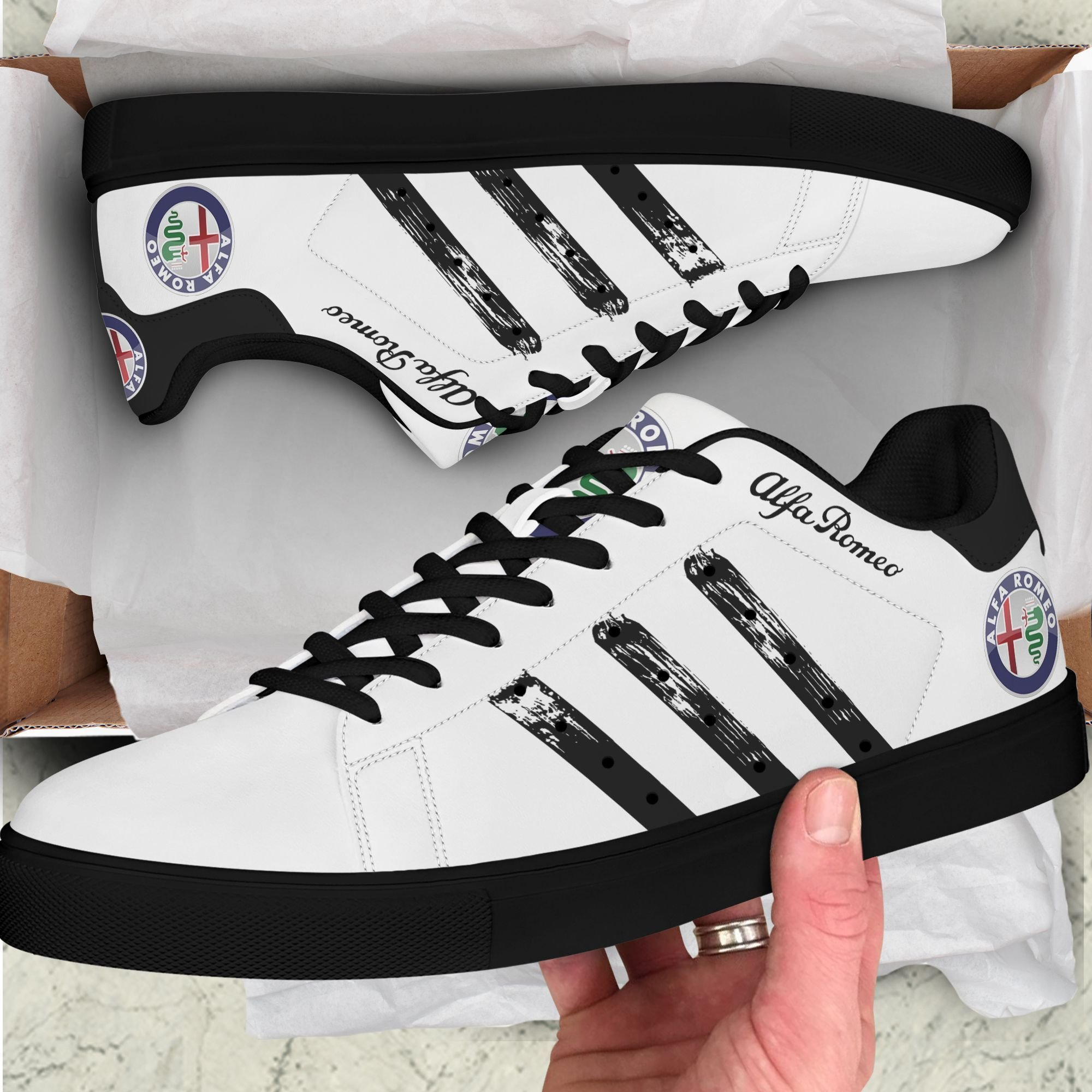 Alfa Romeo Black Painting Lines in White Stan Smith Shoes