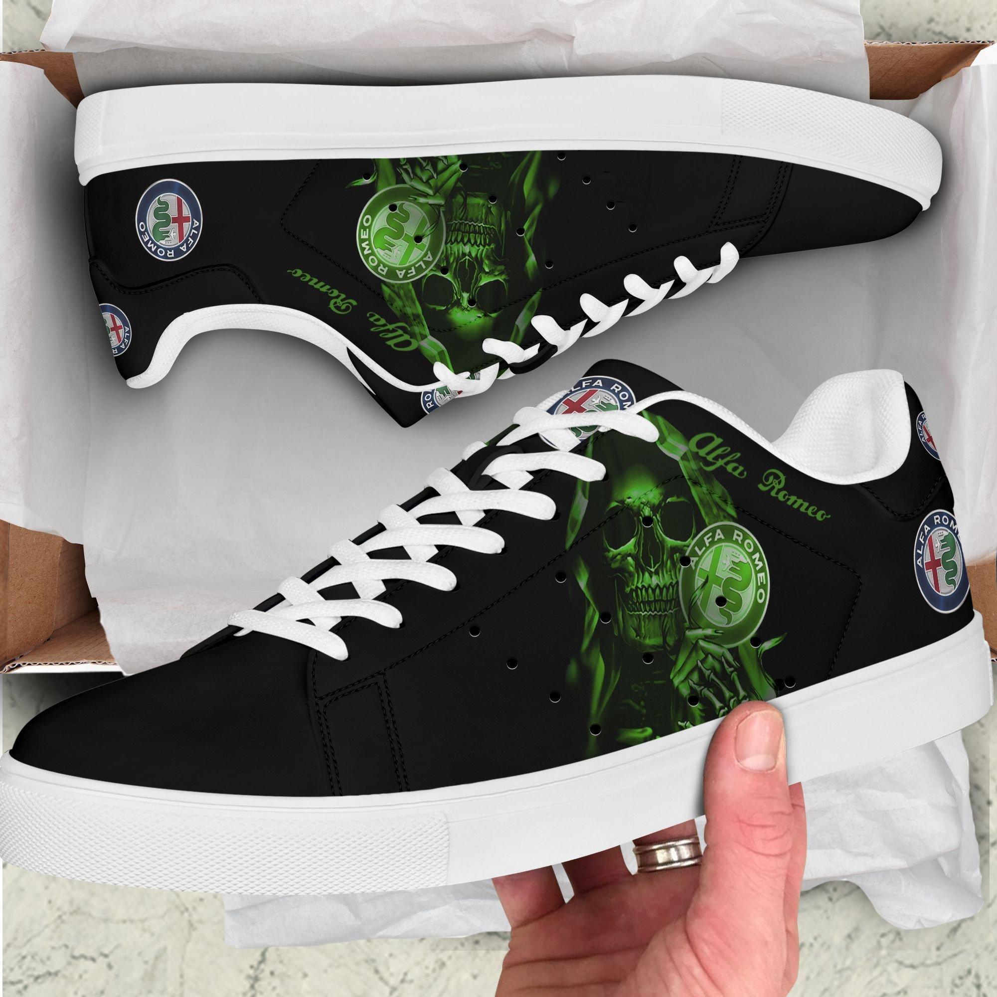 Alfa Romeo Green Skull in Black Stan Smith Shoes