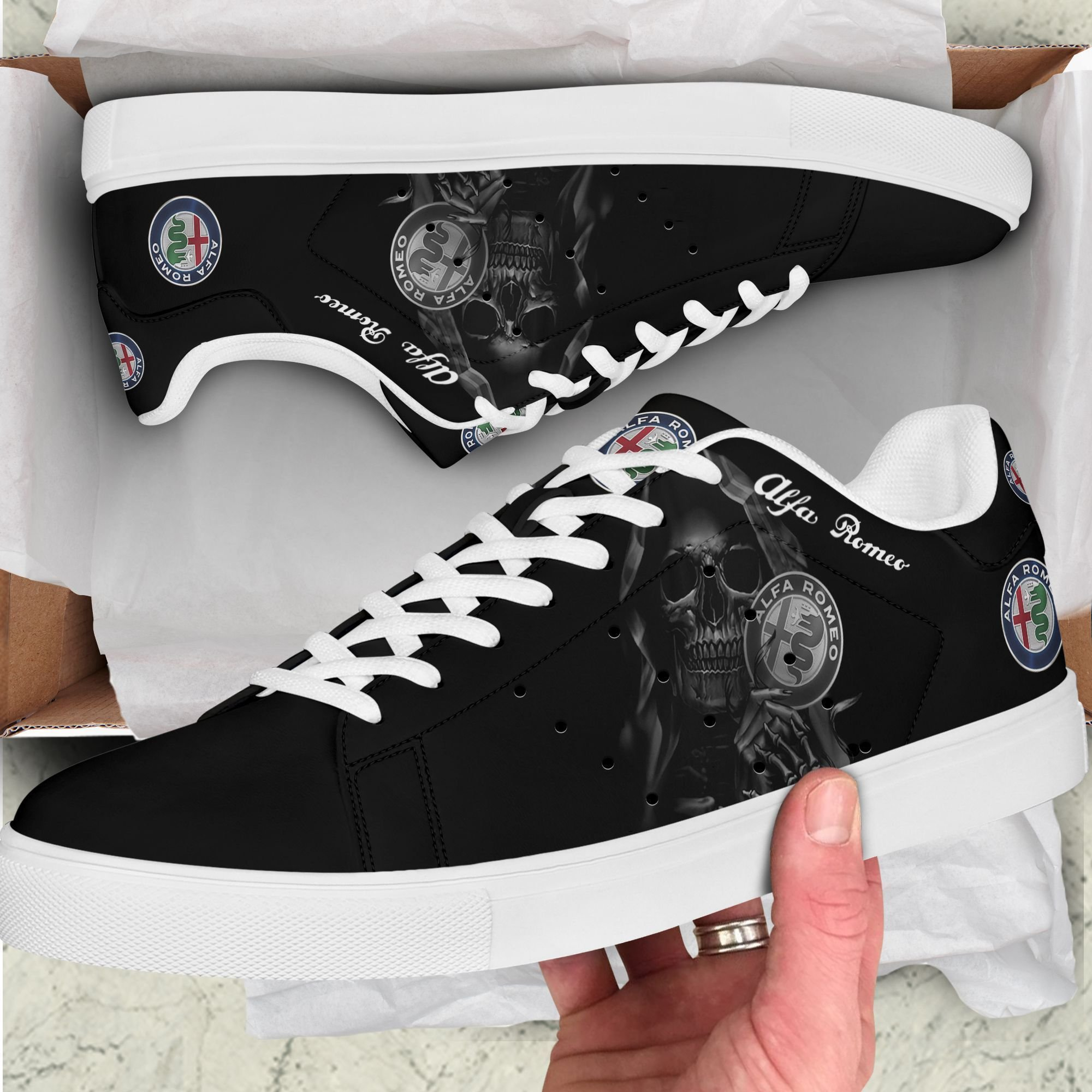 Alfa Romeo Grey Skull in Black Stan Smith Shoes