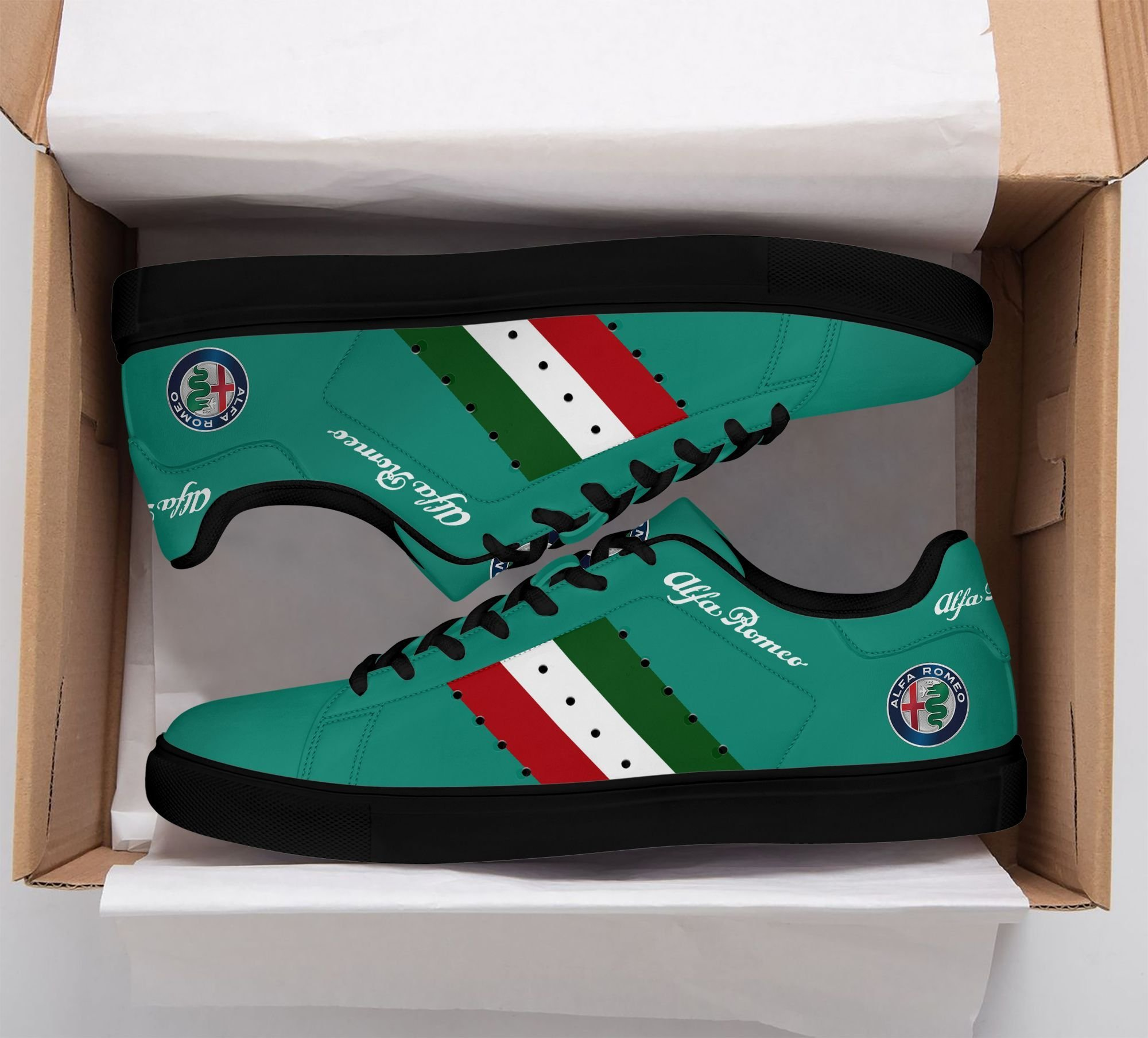Alfa Romeo Color lines in Green Stan Smith Shoes
