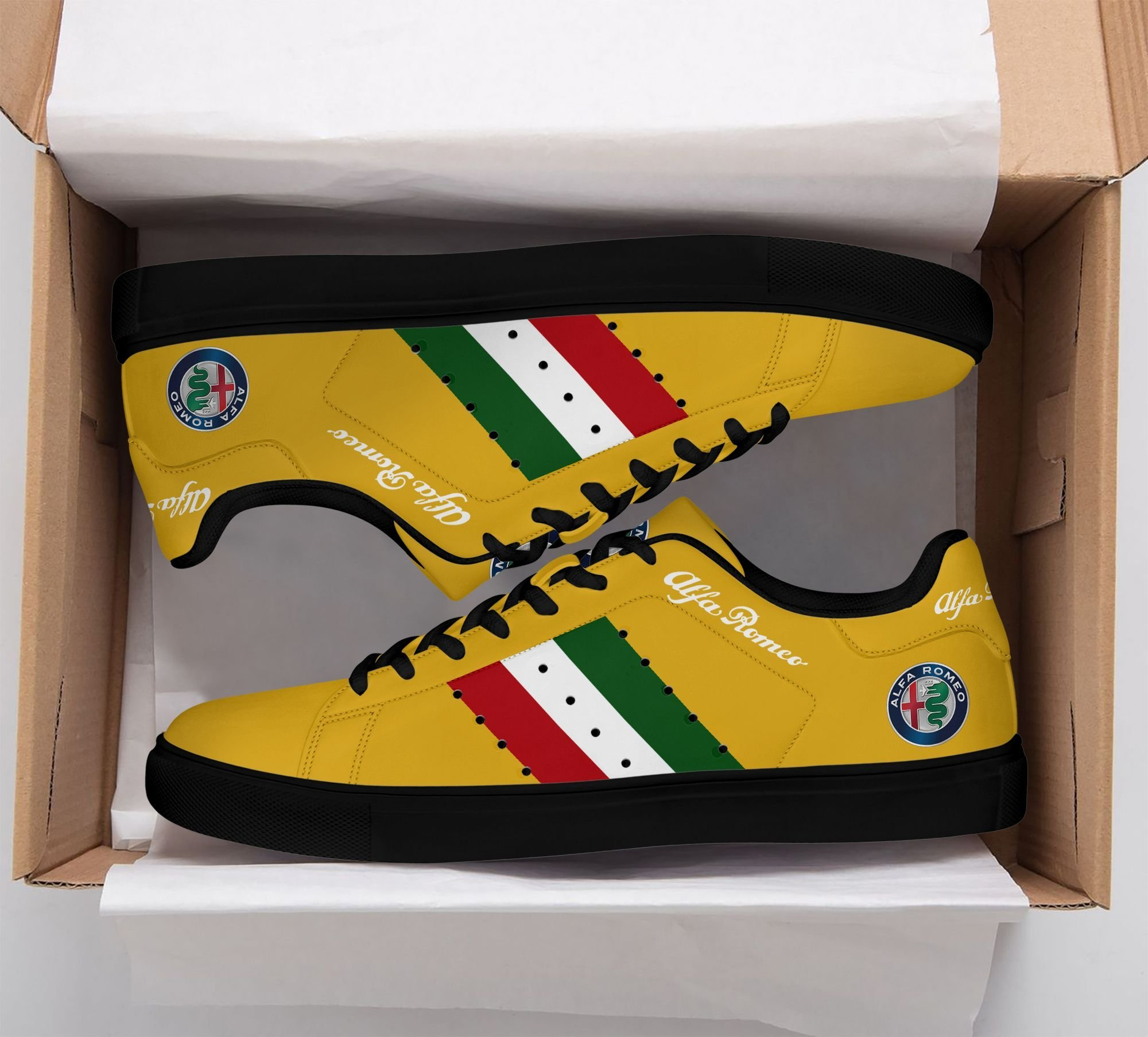 Alfa Romeo Color lines in Yellow Stan Smith Shoes