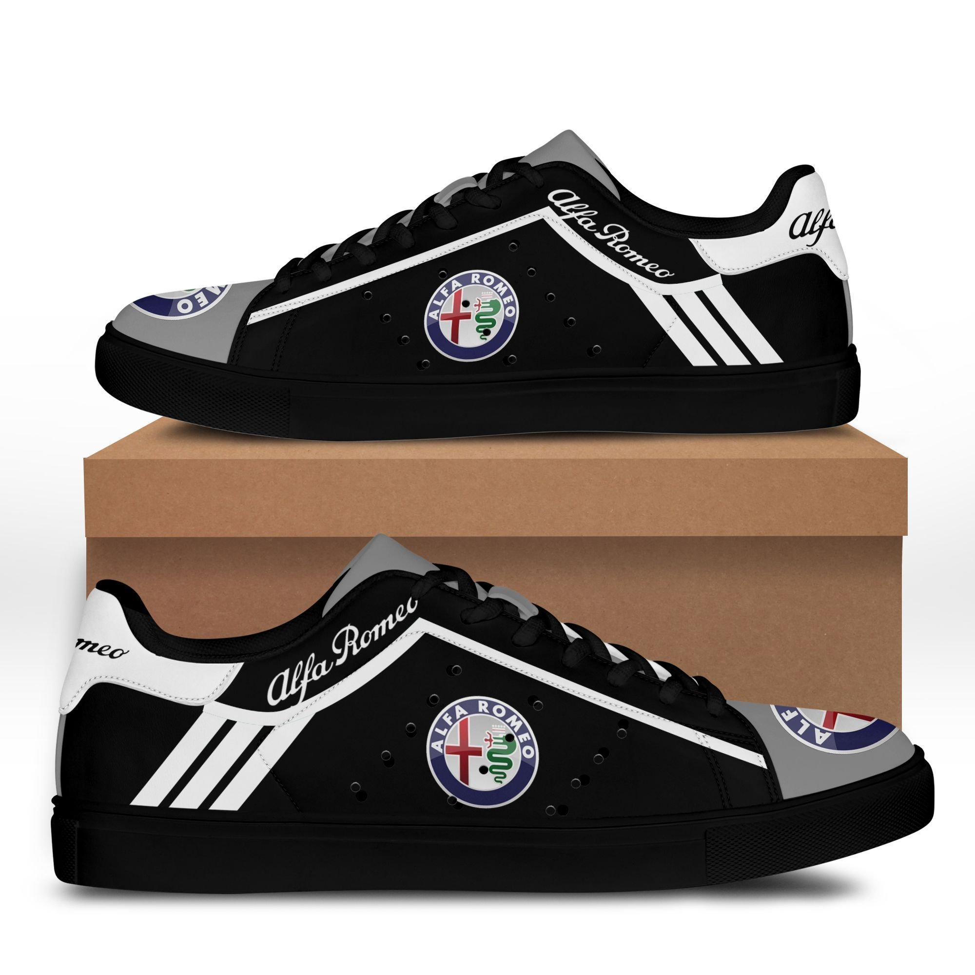 Alfa Romeo White lines in Black Stan Smith Shoes