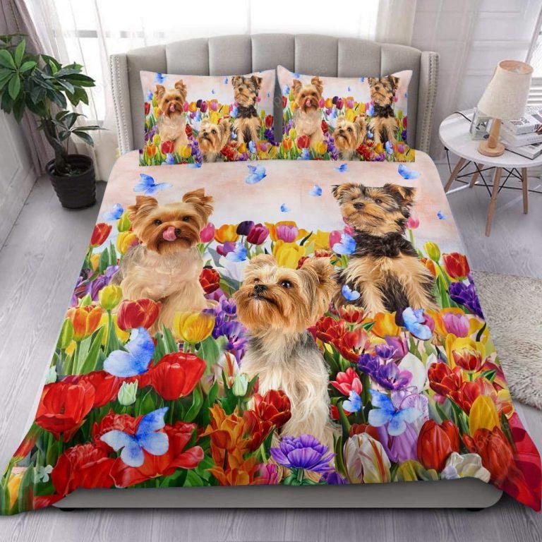 Yorkshire Terrier Tulip Garden Bedding Set