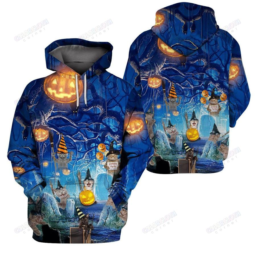 Blue Halloween Cat 3D All-over Printed Hoodie and sweatshirt