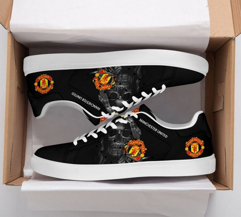 Manchester United Grey Skull Black Stan Smith Shoes