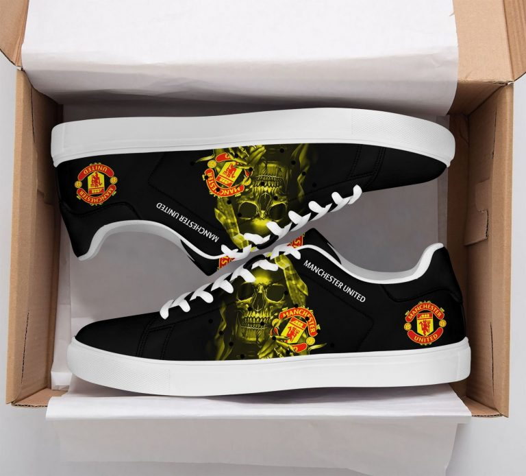 Manchester United Yellow Skull Black Stan Smith Shoes
