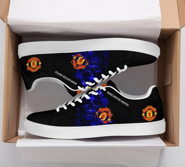 Manchester United Blue Skull Stan Smith Shoes