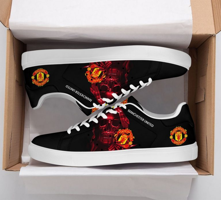 Manchester United Red Skull Black Stan Smith Shoes