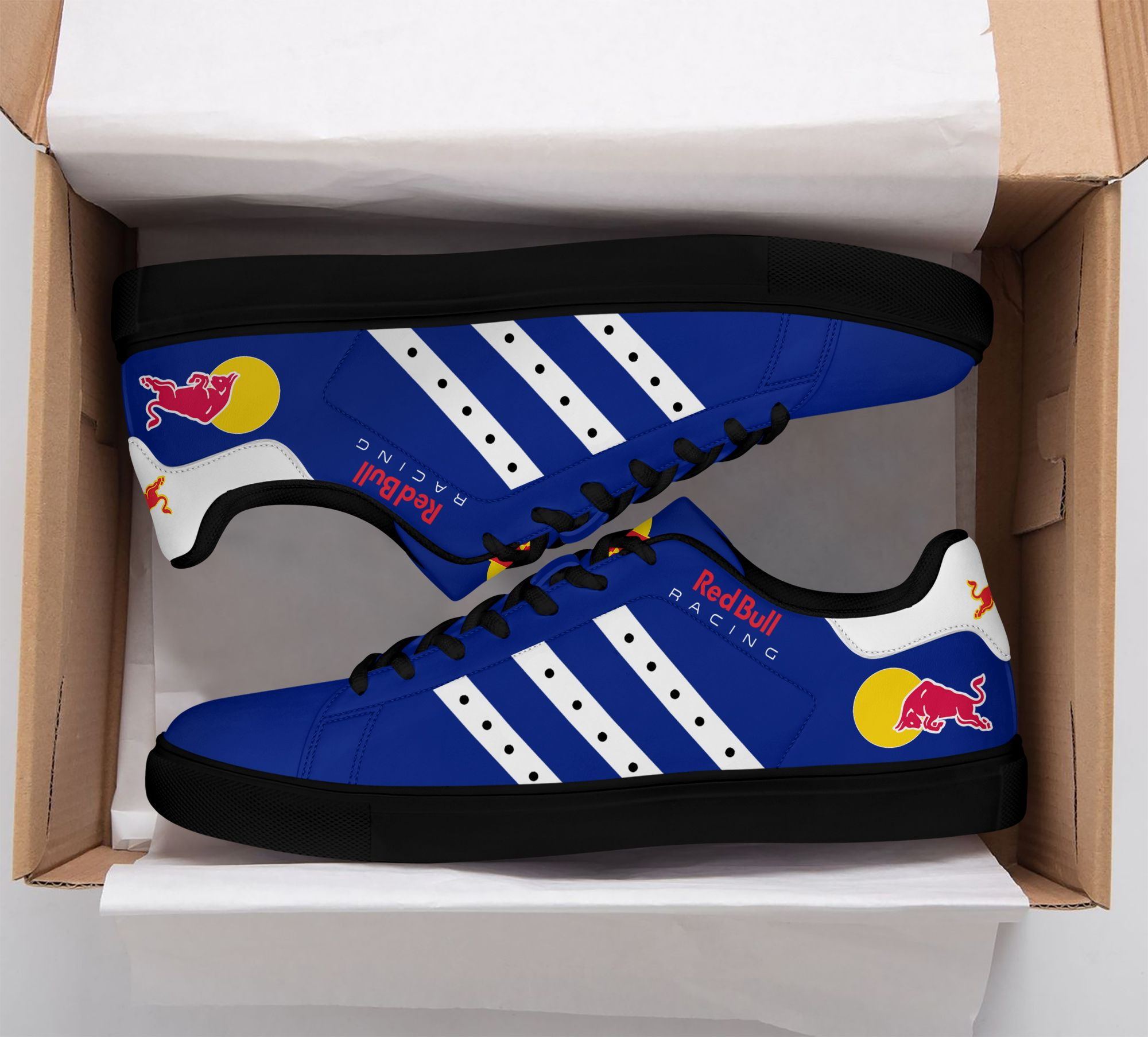 Red Bull racing blue white stripe line Stan Smith Shoes