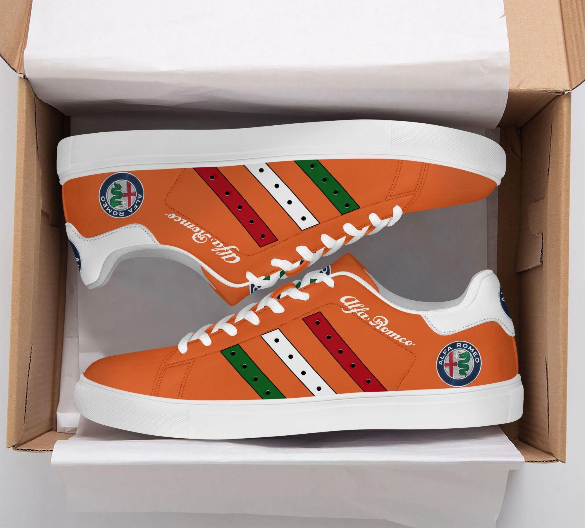 Alfa Romeo Color Stripe Lines in Orange Stan Smith Shoes