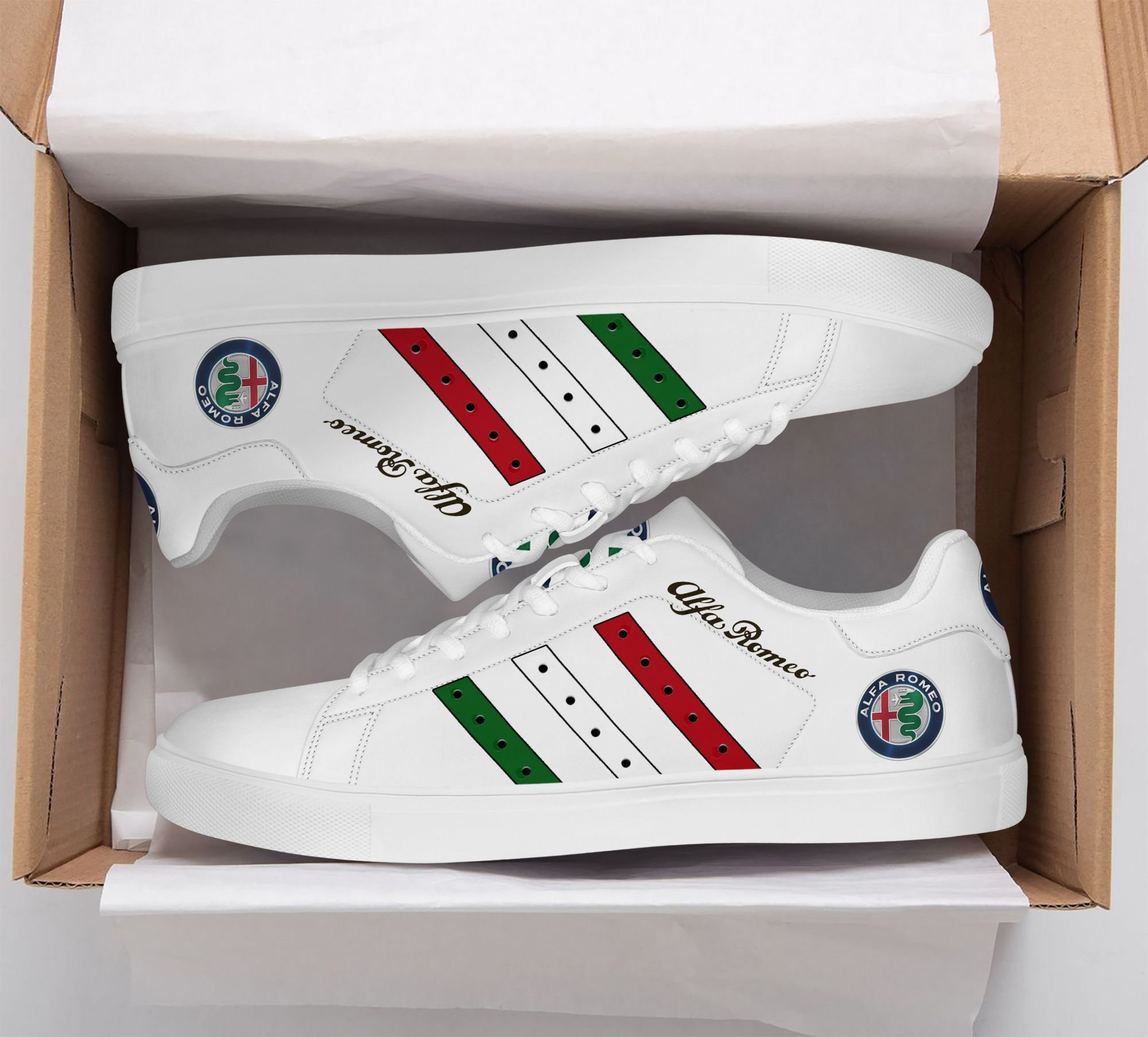 Alfa Romeo Color Stripe Lines in White Stan Smith Shoes