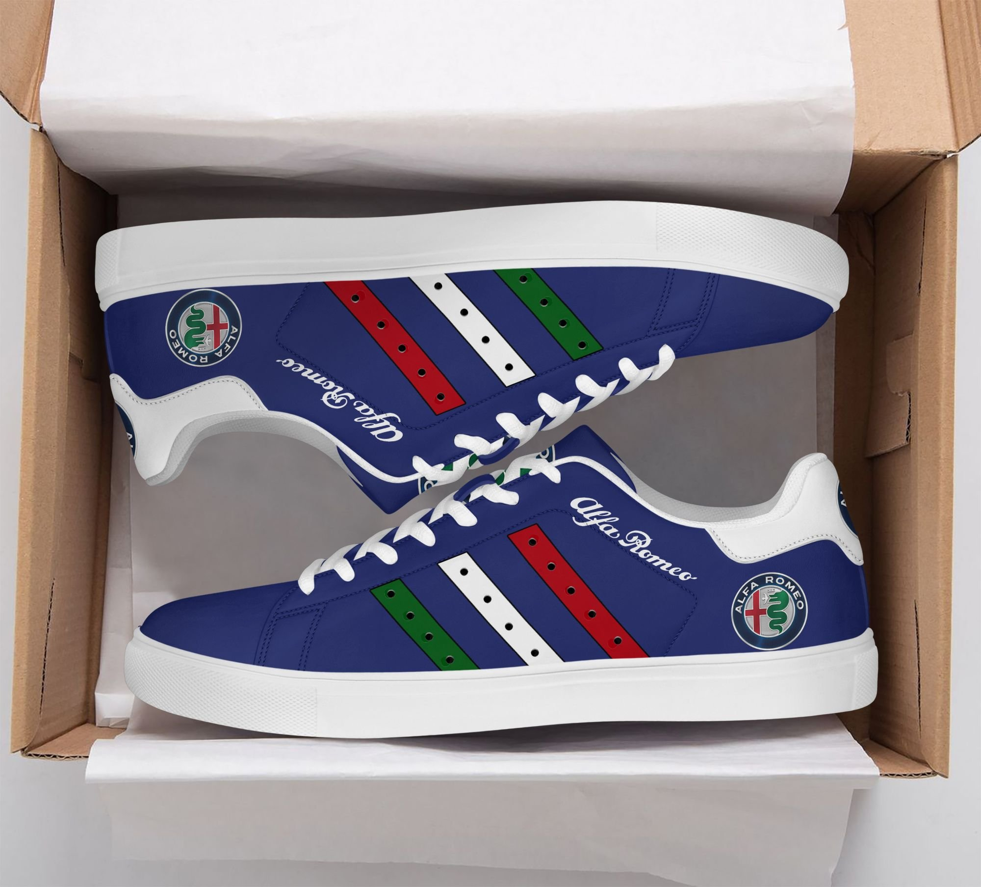 Alfa Romeo Color Stripe Lines in Blue Stan Smith Shoes