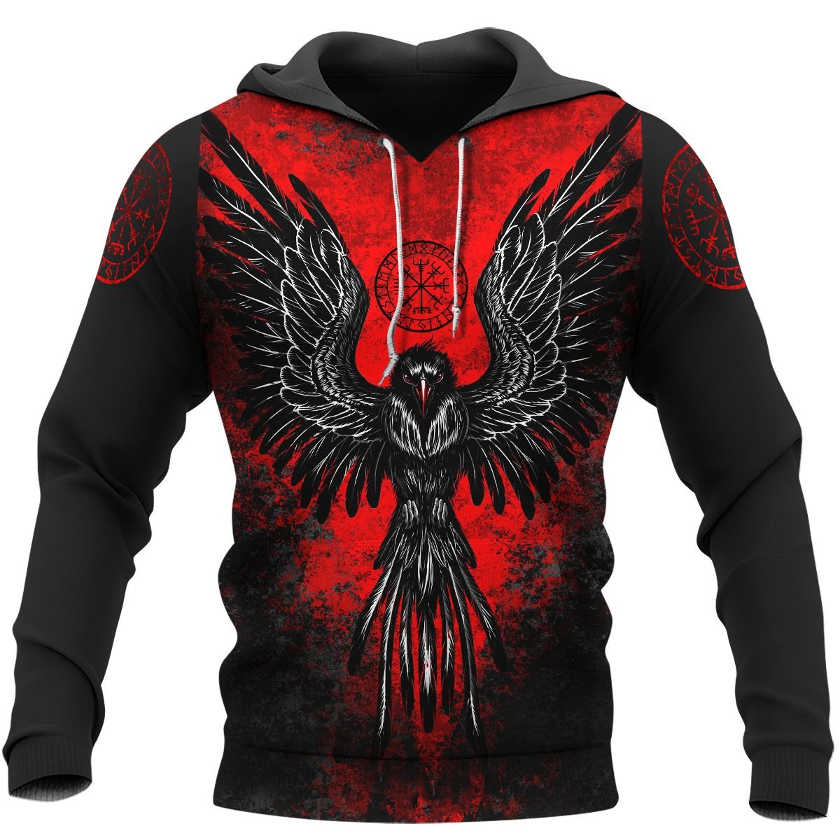 Viking Raven Vegvisir red and black Hoodie and T-shirt
