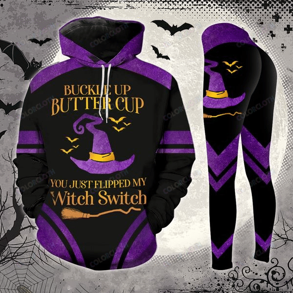Dark Purple Witch Switch Halloween Hoodie And Legging