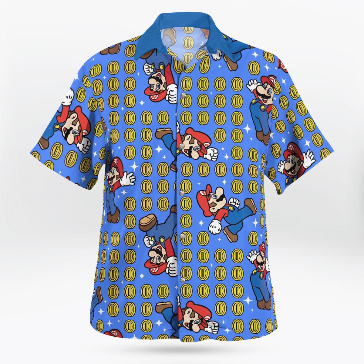 Super Mario with coin Hawaiian Shirt