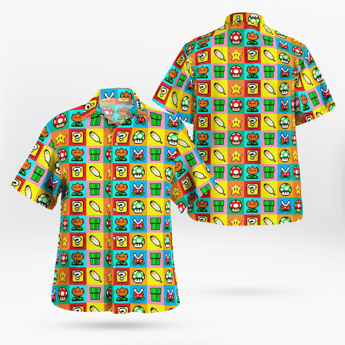 Mario game mushroom and flower Hawaiian Shirt