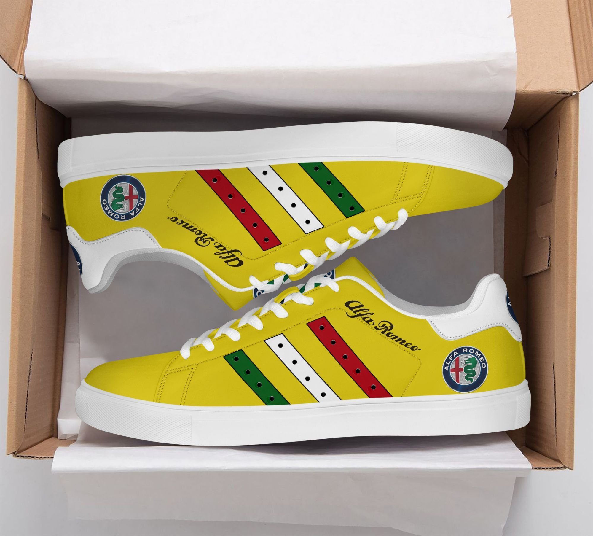 Alfa Romeo Color Stripe Lines in Yellow Stan Smith Shoes