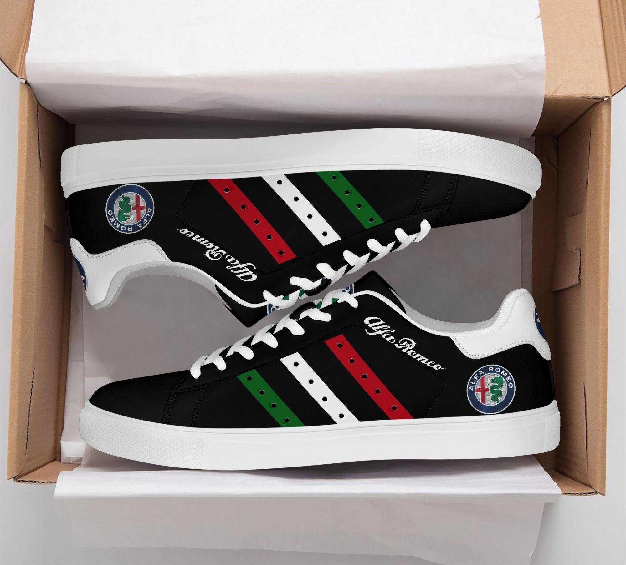 Alfa Romeo Color Stripe Lines in Black Stan Smith Shoes