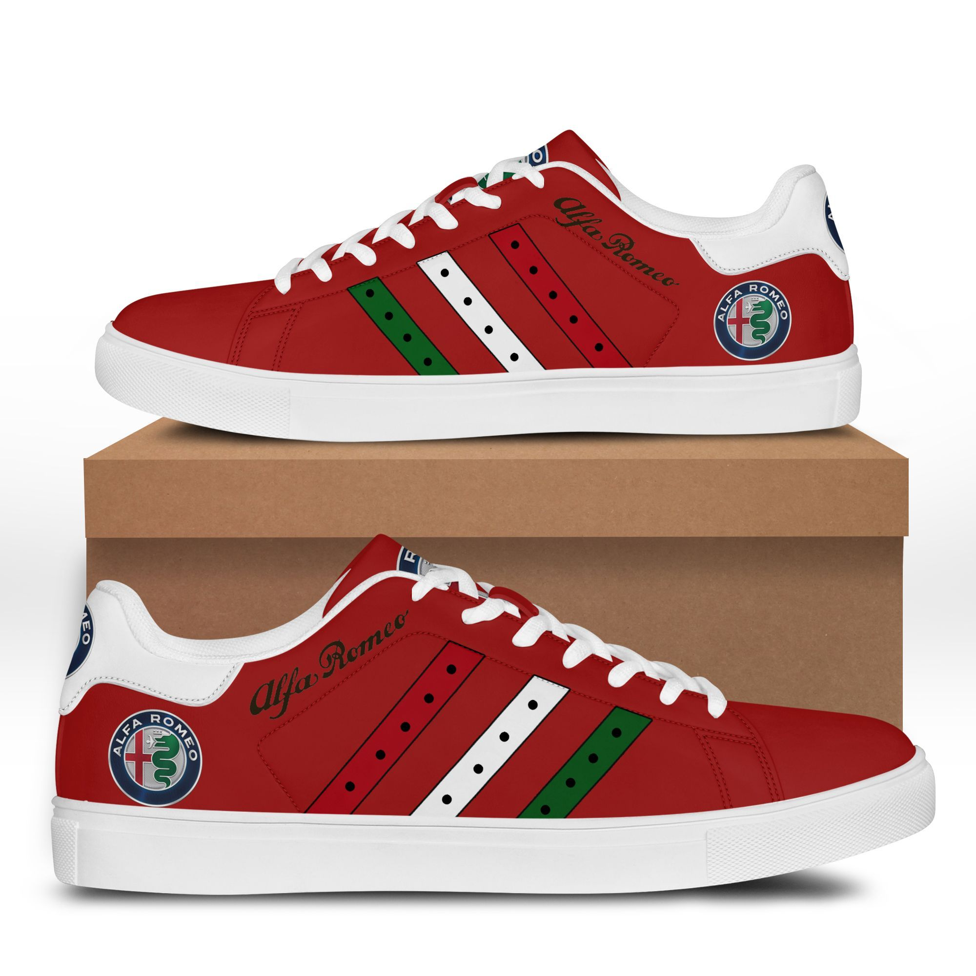 Alfa Romeo Color Stripe Lines in Red Stan Smith Shoes